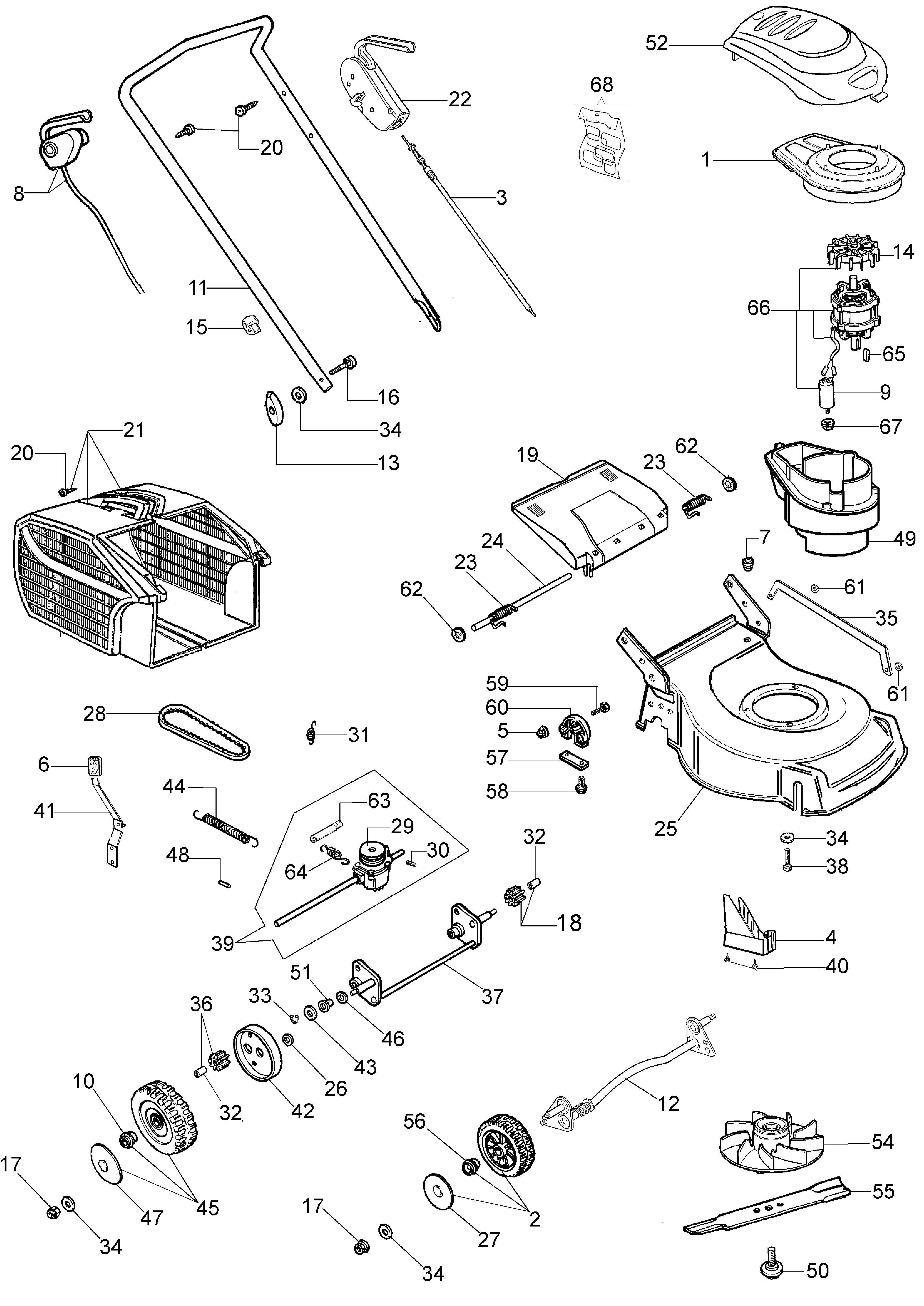 G 48 TE Tondeuse électrique oleomac Dessins pièces -  Vue éclatée complète