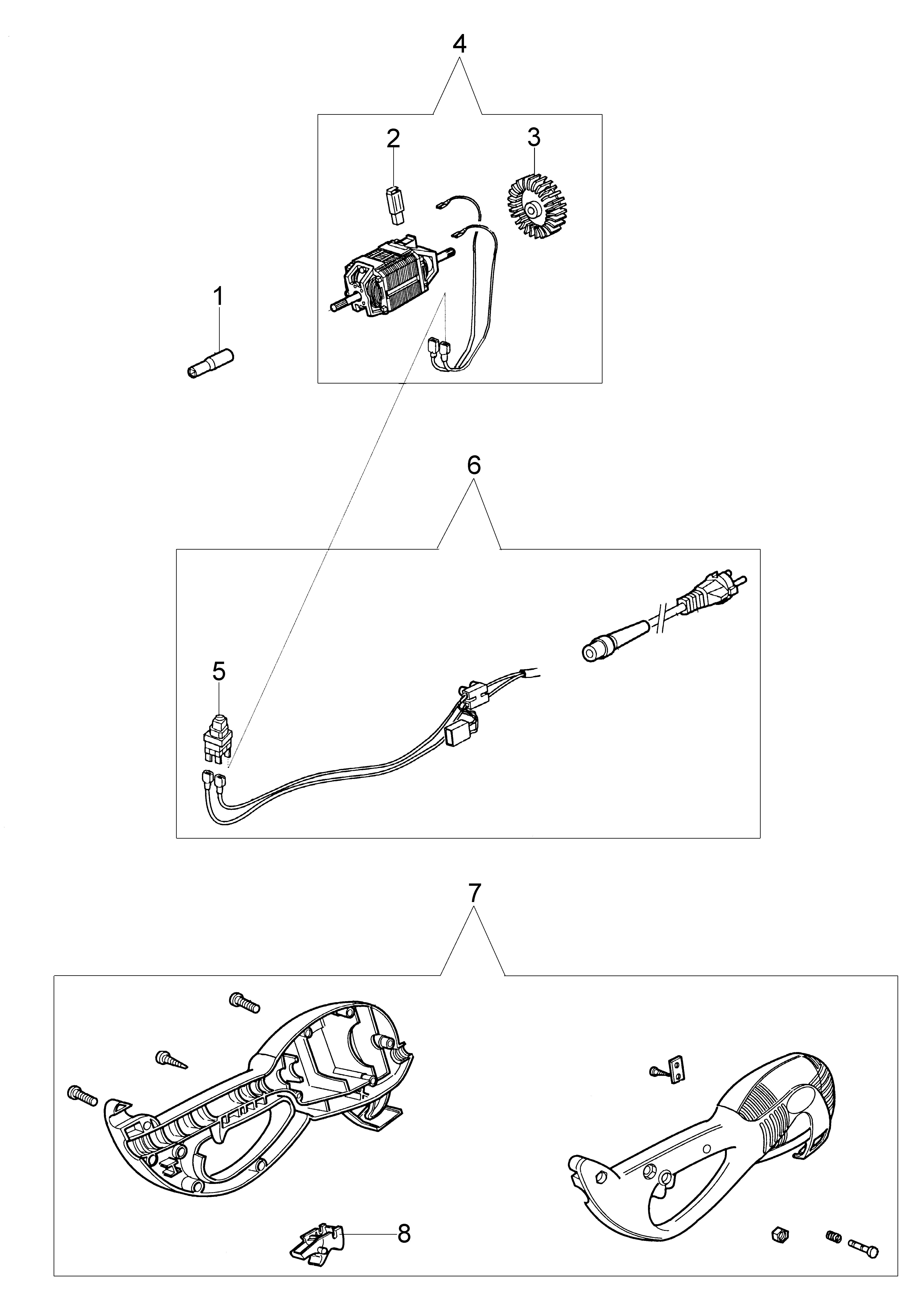 TR 61 E Débroussailleuse électrique oleomav Dessins pièces vue éclatée Moteur (SN 308xxxxxxx)