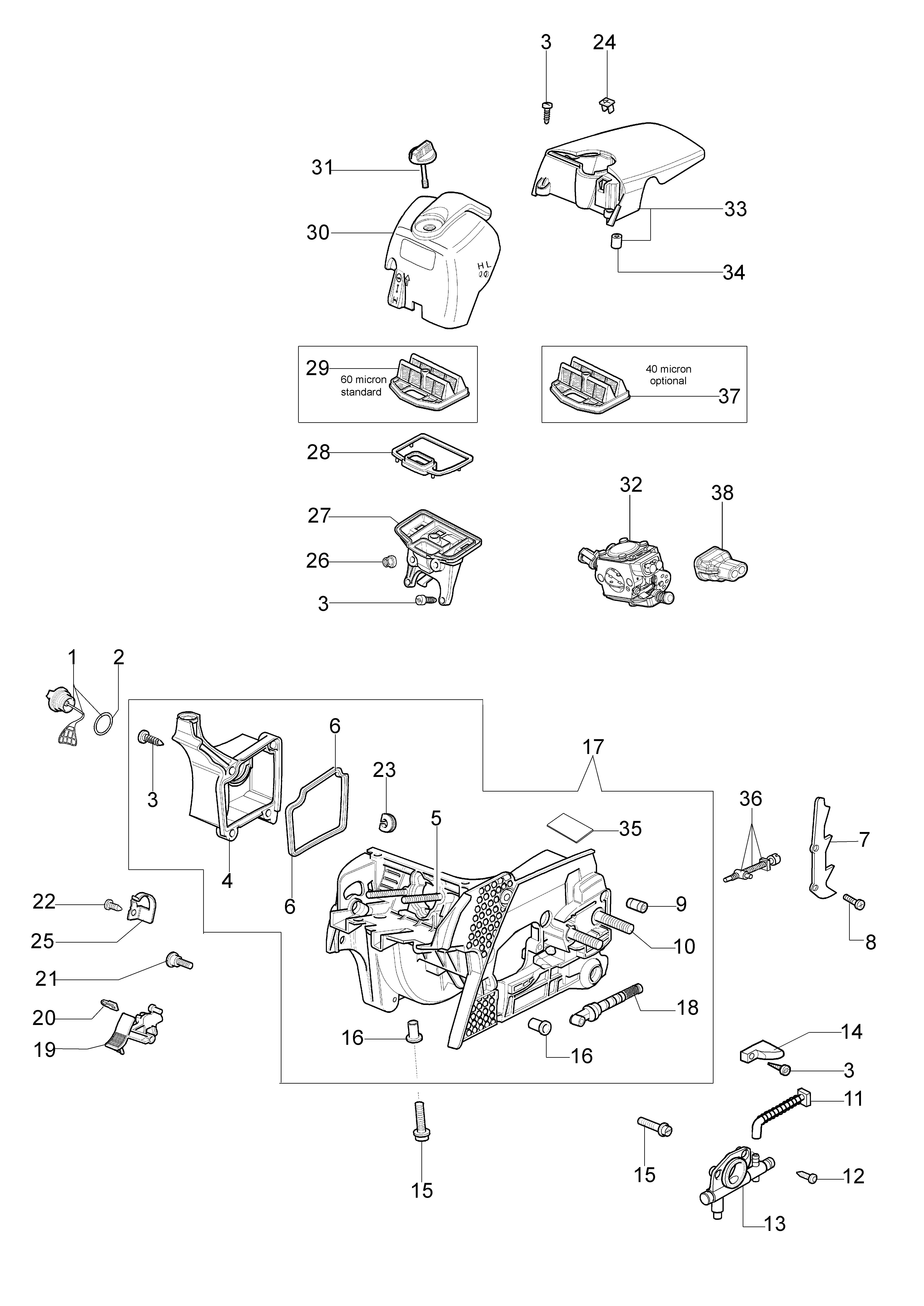 GS 370 (Euro 2) Tronçonneuse oleomac Dessins pièces vue éclatée Soubassement