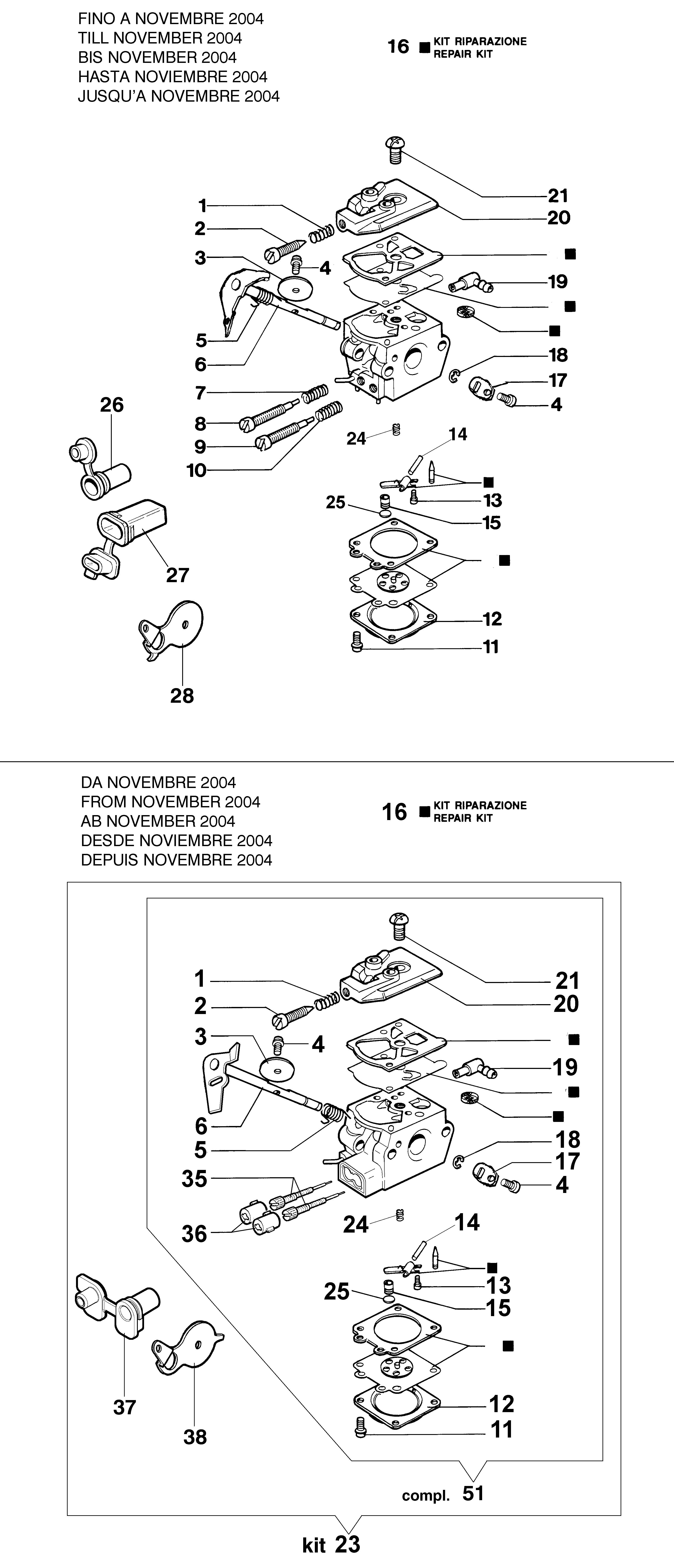 932 C Tronçonneuse oleomac Dessins pièces vue éclatée Carburateur WT-705