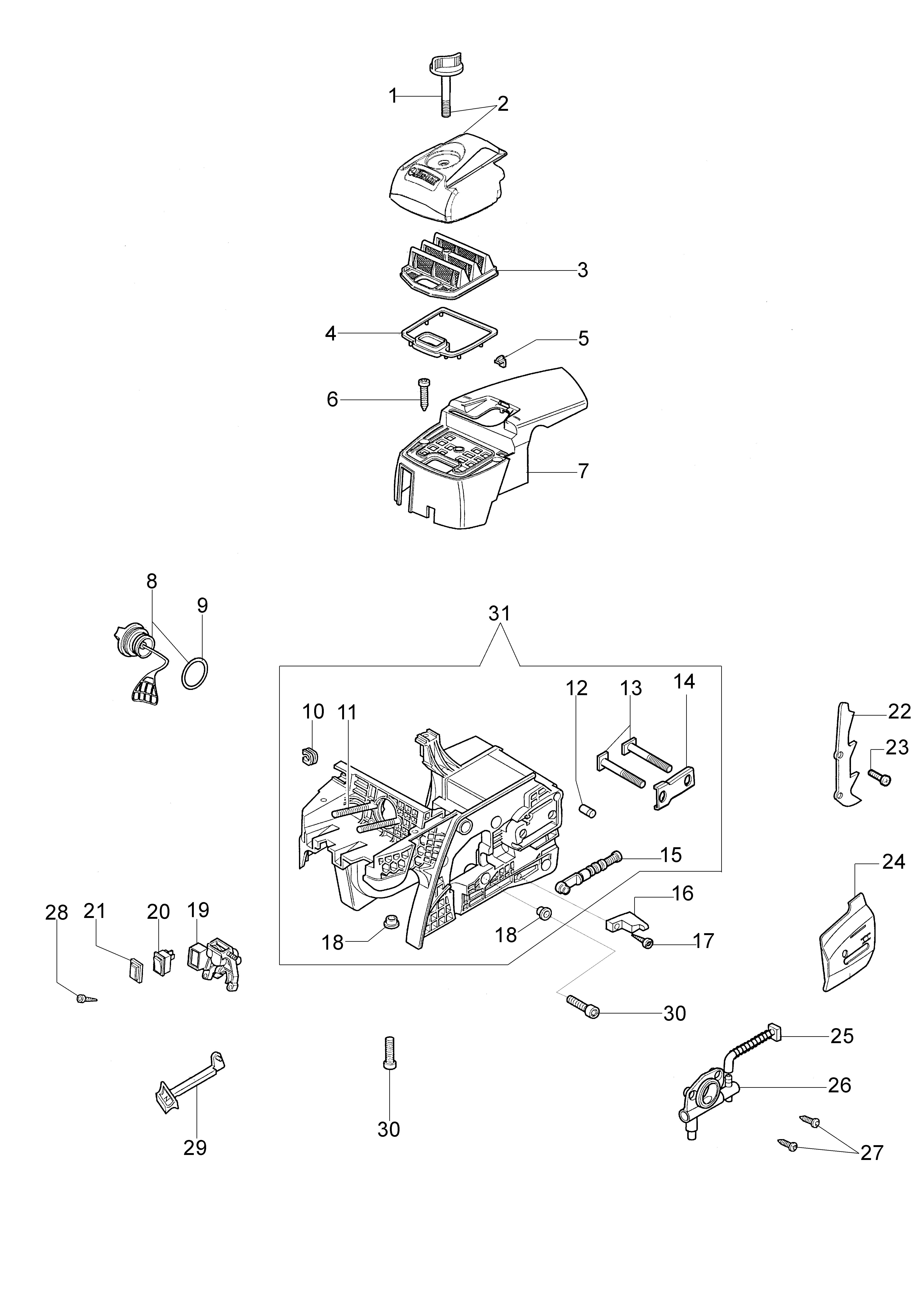 952 Tronçonneuse oleomac Dessins pièces vue éclatée Réservoir et filtre air