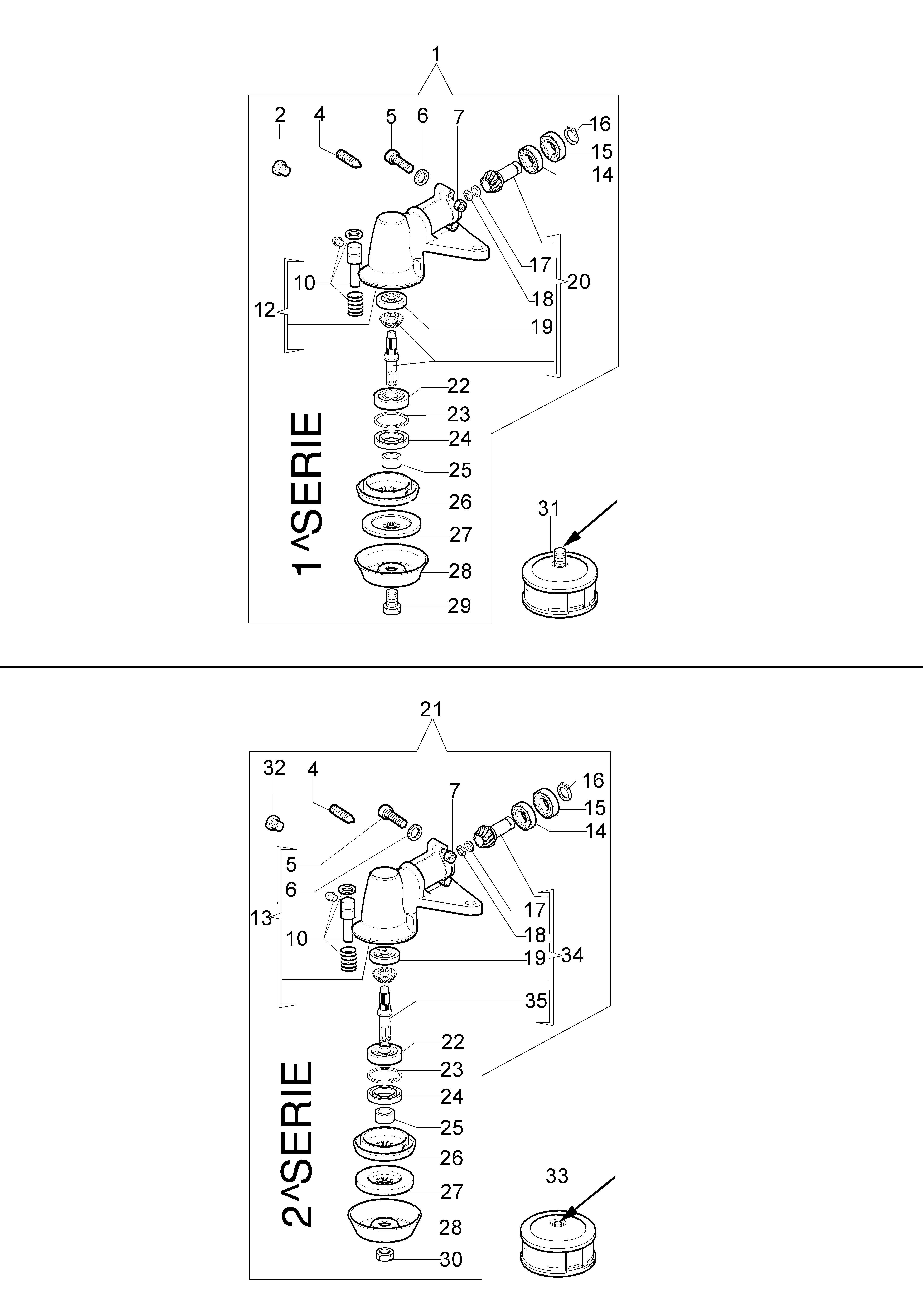 746 T Débroussailleuse oleomac Dessins pièces vue éclatée Couple conique
