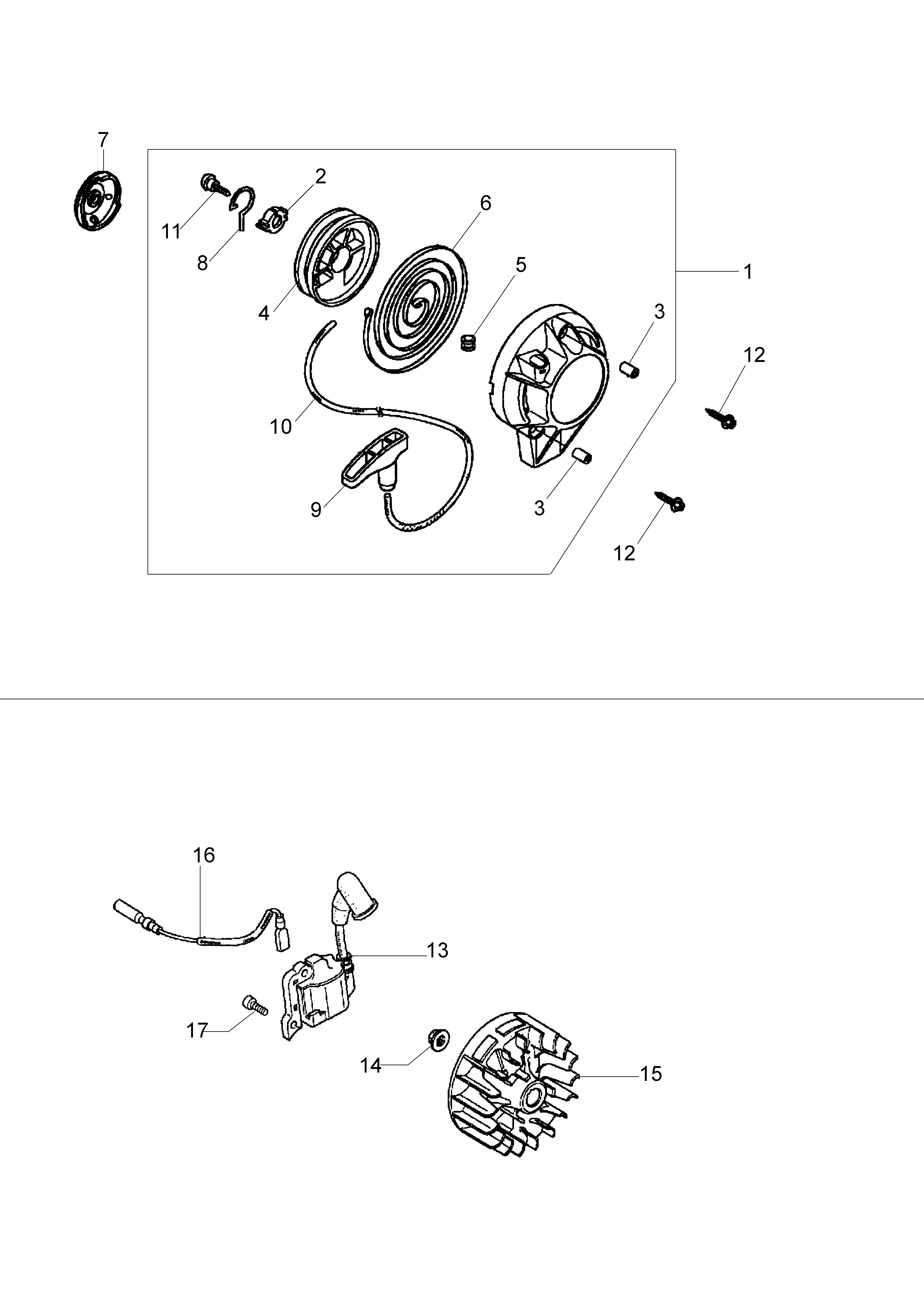 Honda GX25 Dessins pièces vue éclatée Démarrage complet allumage -