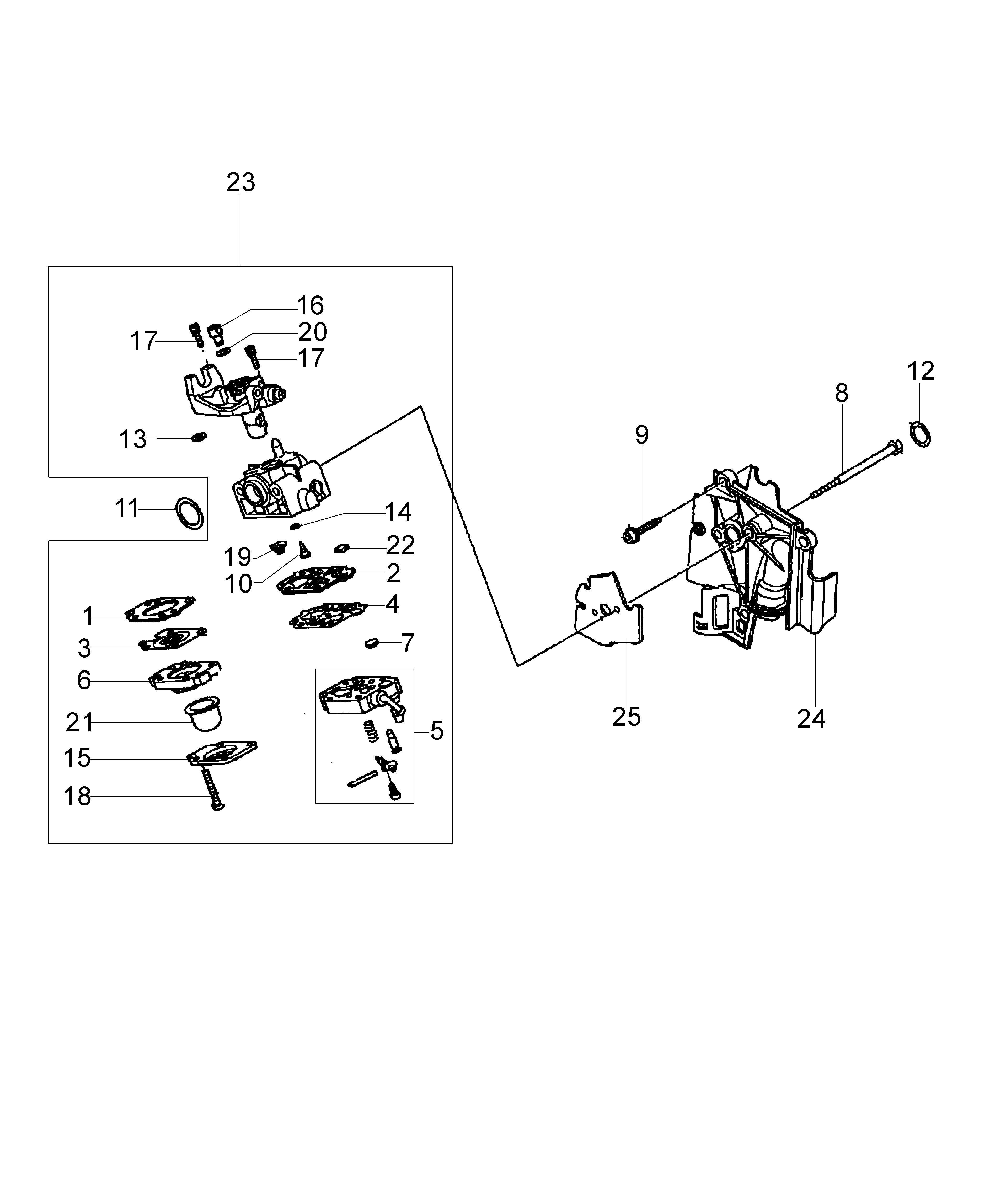 Honda GX25 Dessins pièces vue éclatée Carburateur WYB 6D -