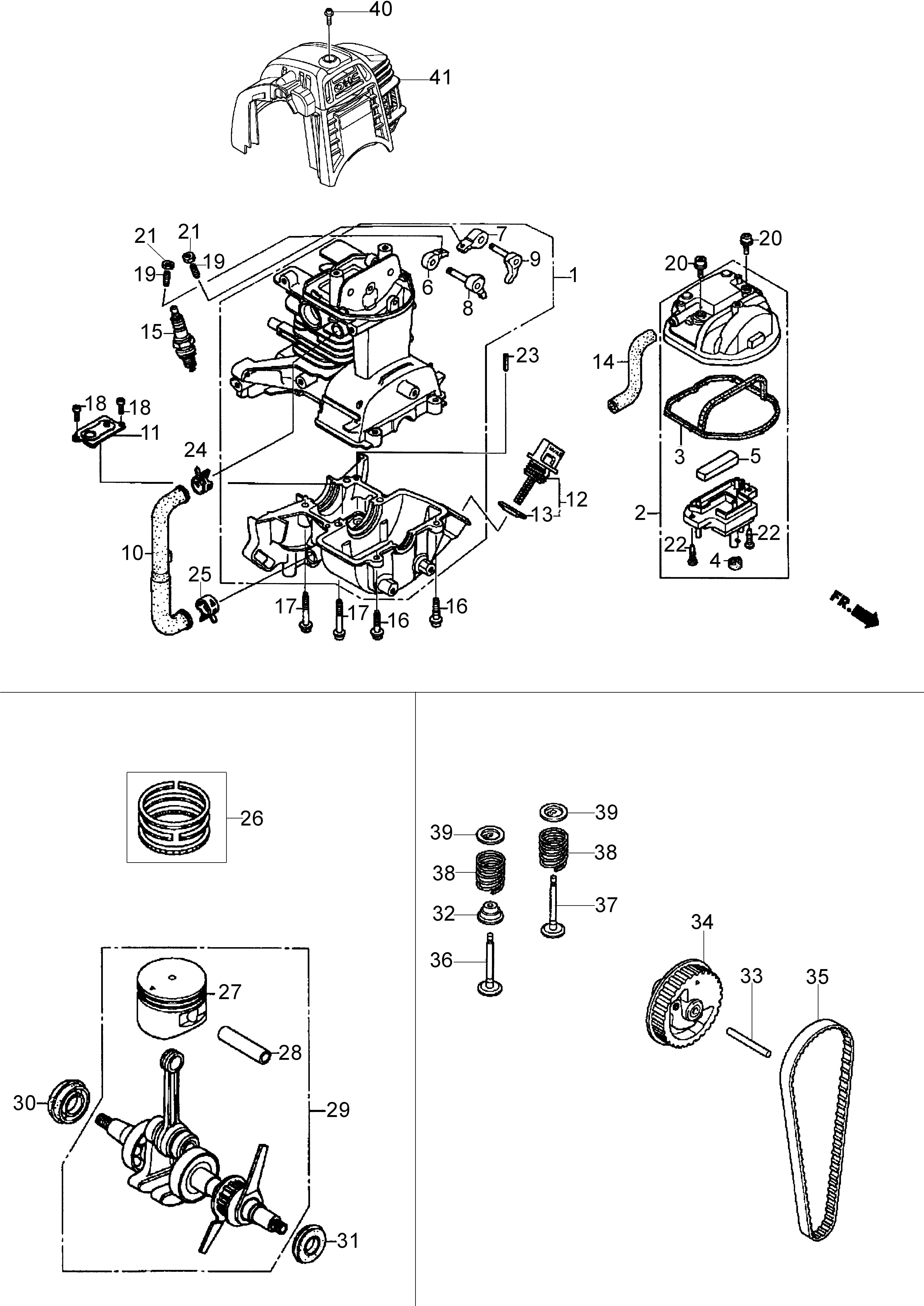 Honda GX25 Dessins pièces vue eclatée Moteur -