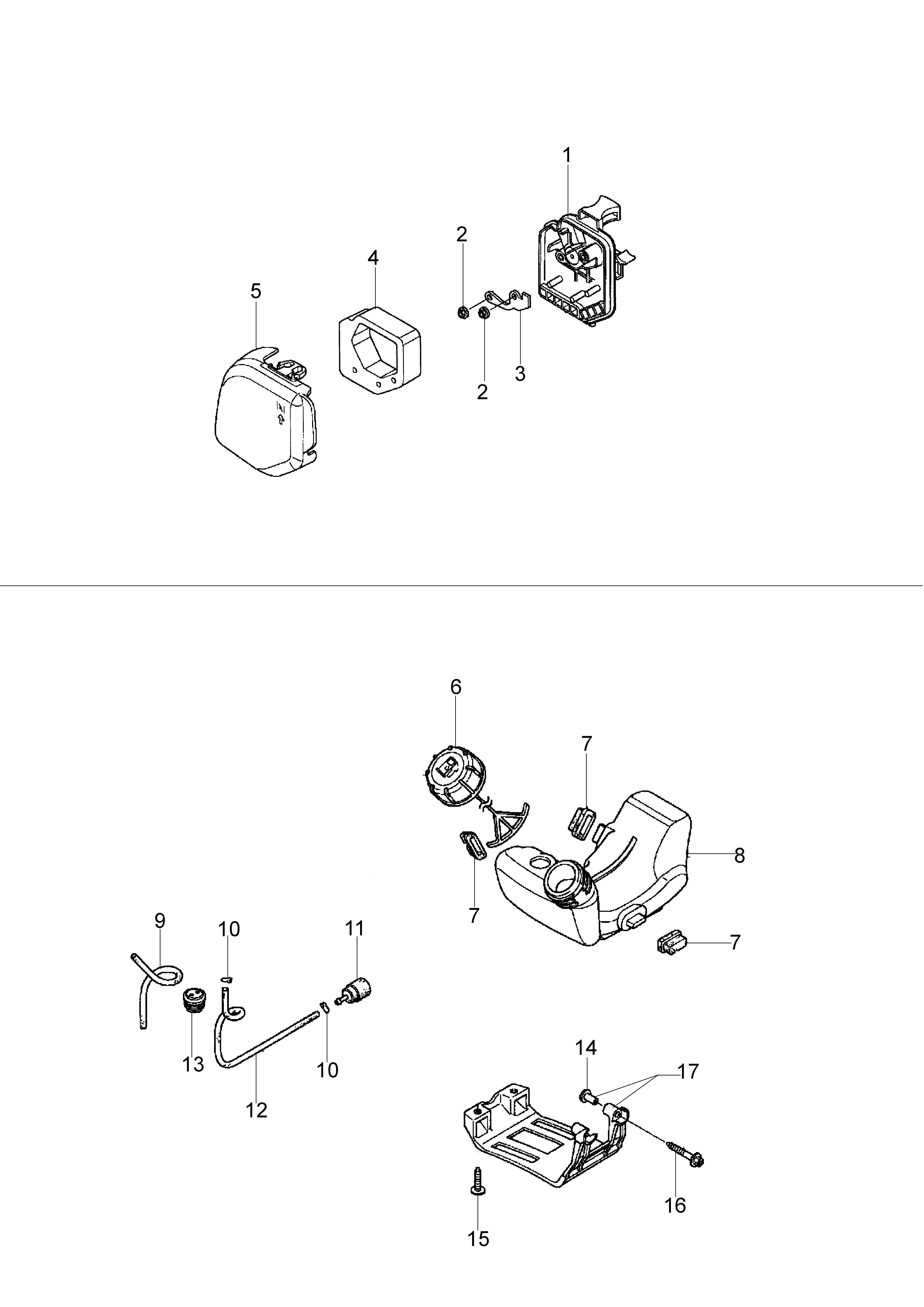 Honda GX25 Dessins pièces vue éclatée Réservoir et filtre à air -