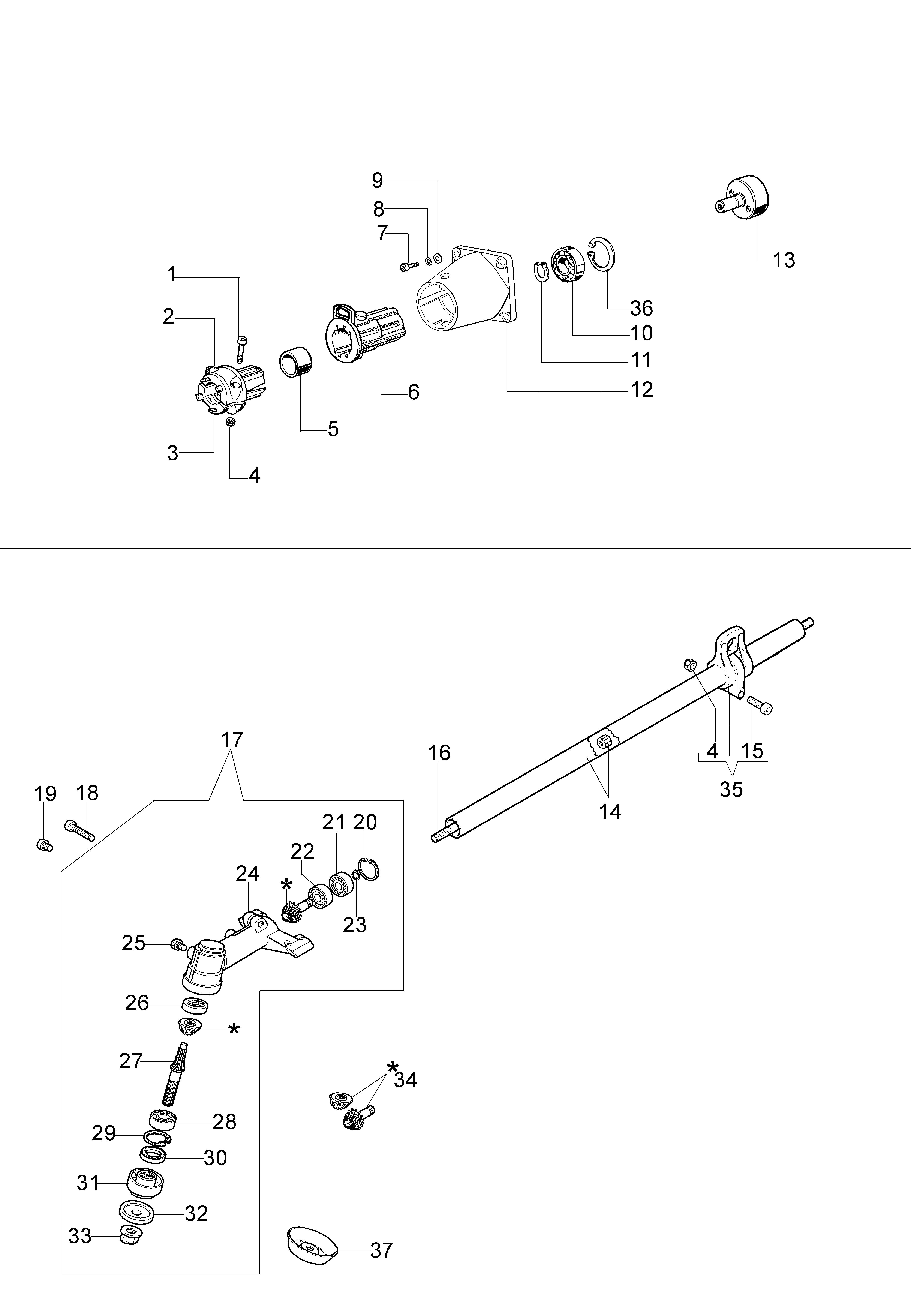 BC 260 4S Débroussailleuse OLEOMAC Dessins pièces vue éclatée Transmission