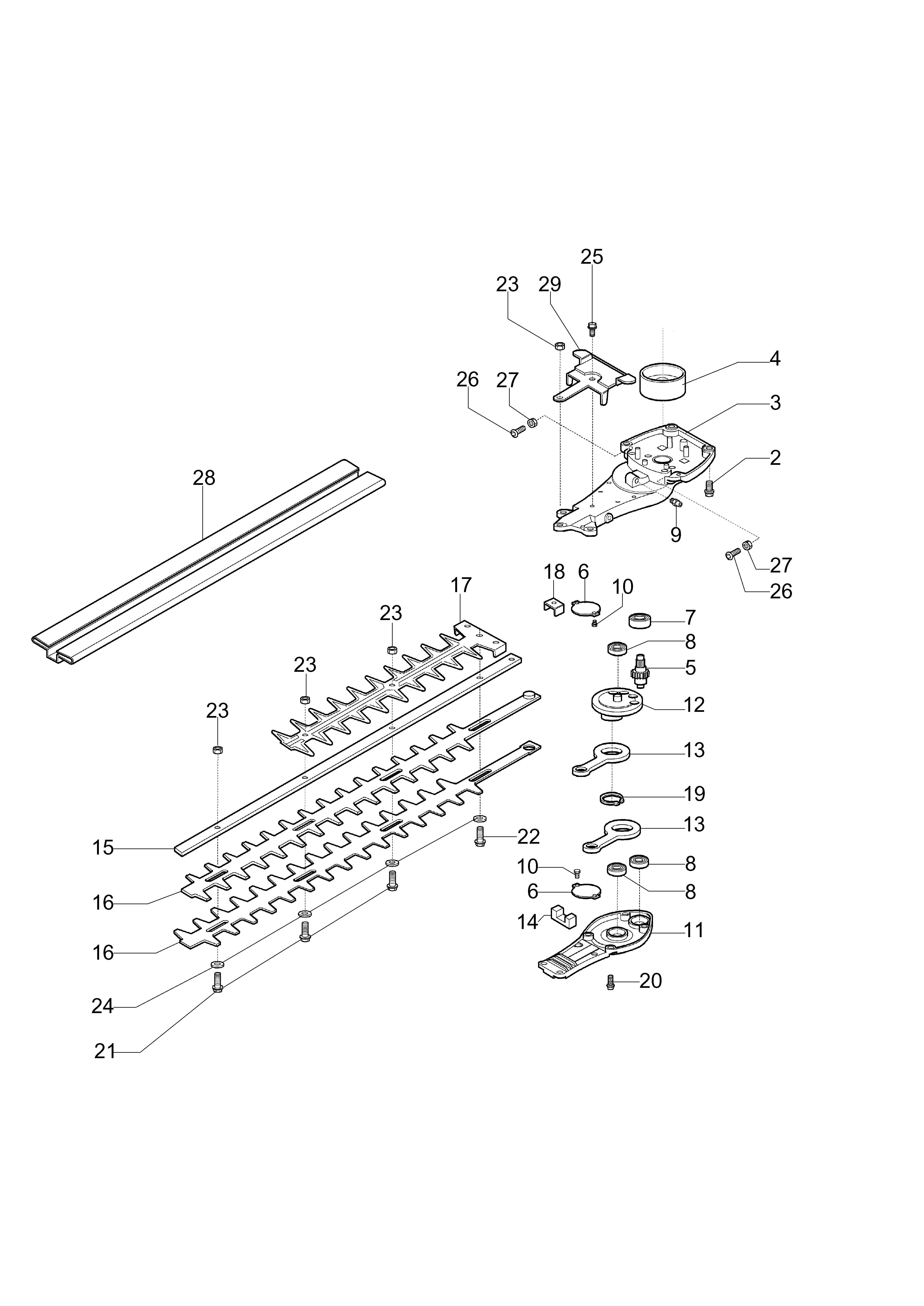 HC 260 XP Taille-haies OLEOMAC vue éclatée Dessins pièces -  Groupe lames
