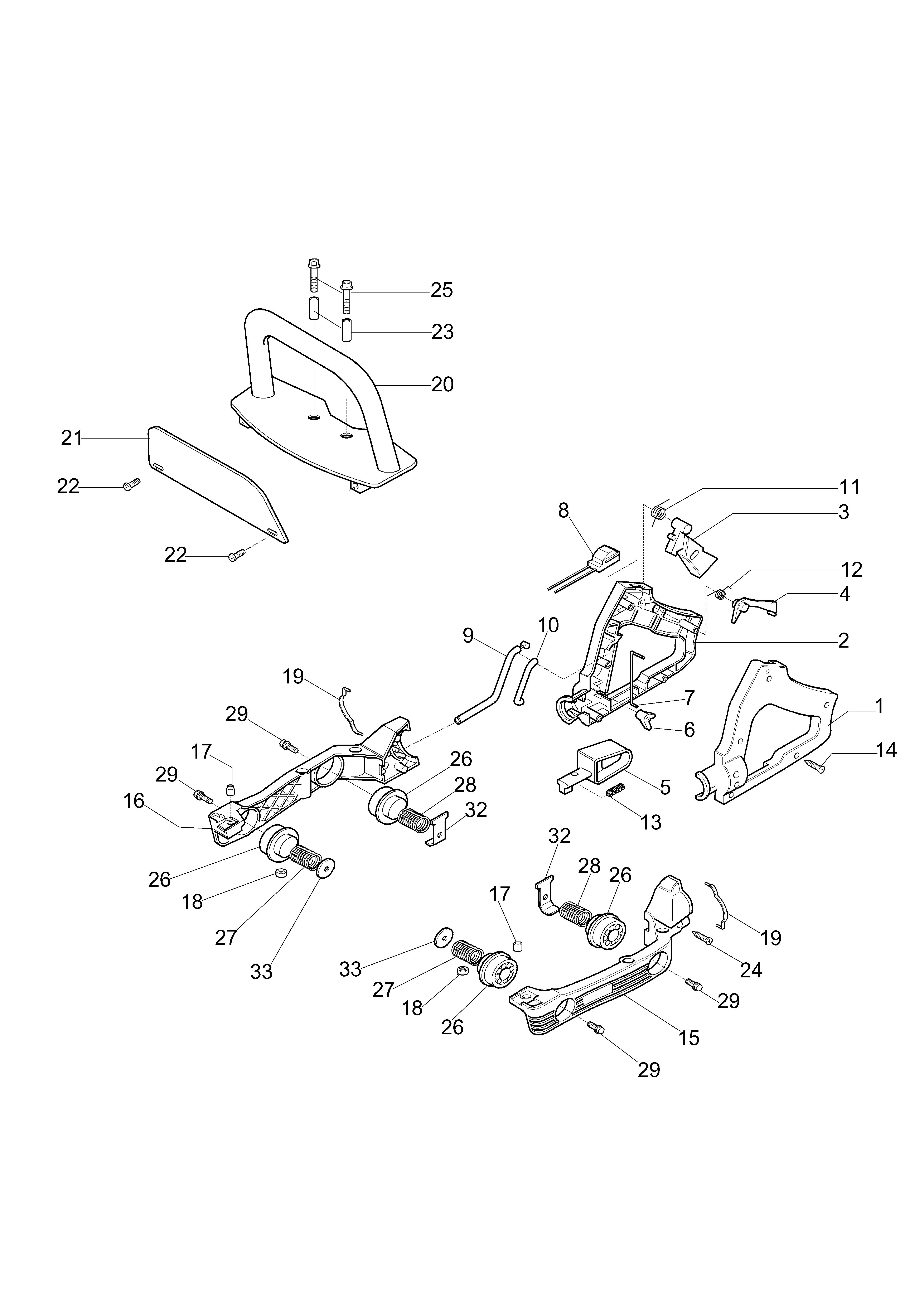 HC 260 XP Taille-haies  OLEOMAC vue éclatée  Dessins pièces -  Poignee