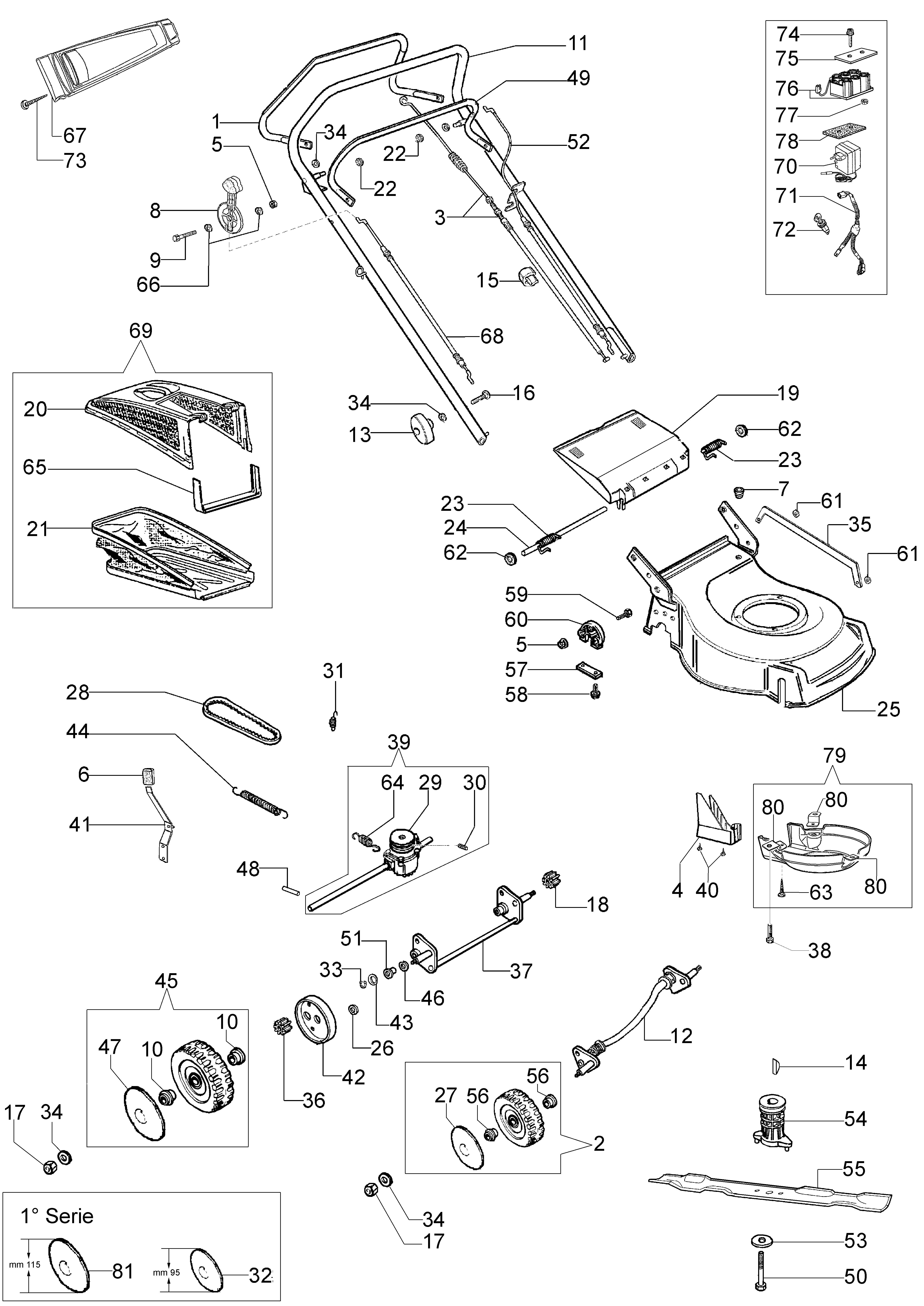 G 48 TBXE Tondeuse Oleomac Dessins pièces -  Vue éclatée (Depuis Juin 07)