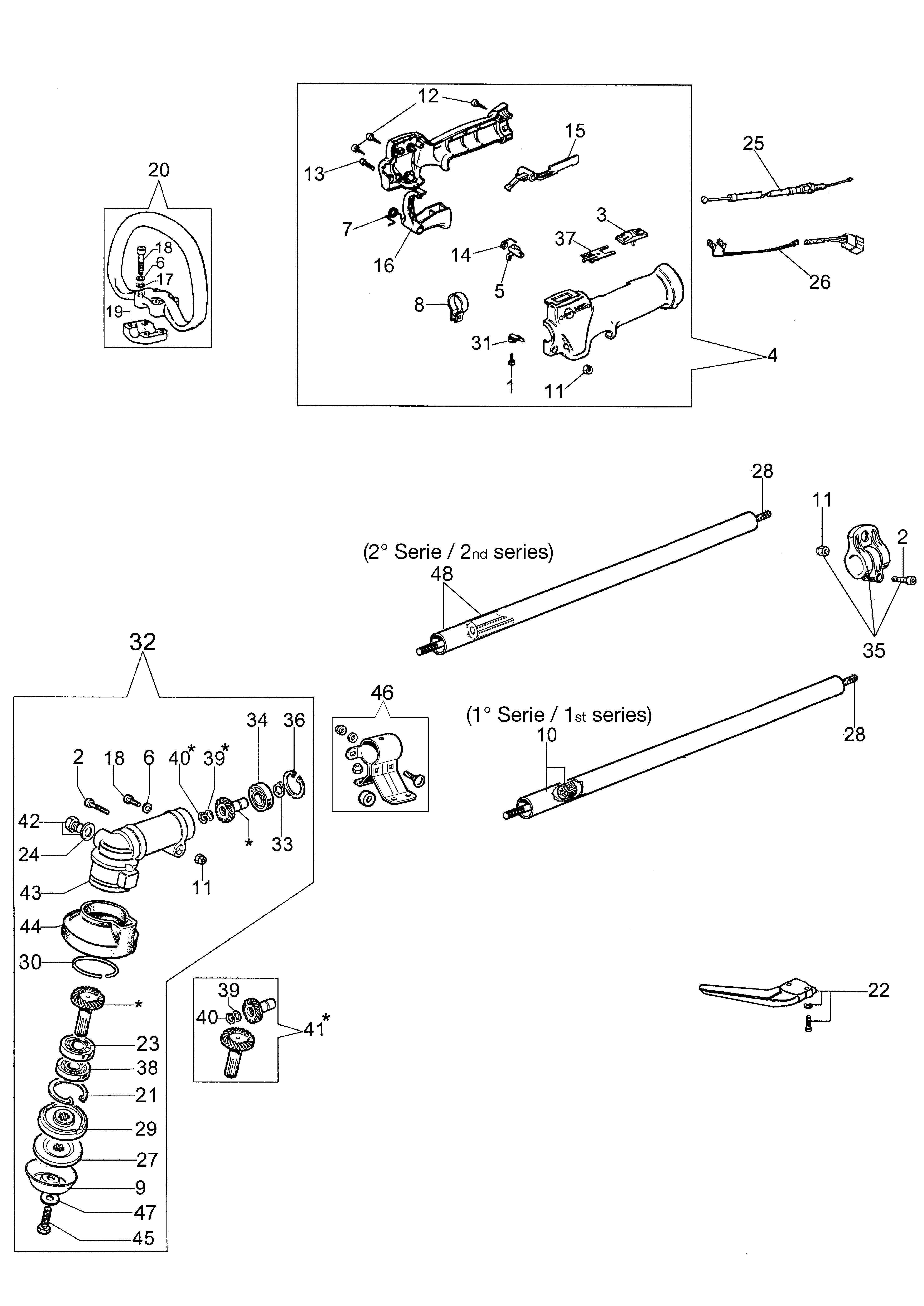 SPARTA 250 S (Euro2) oleomac Dessins pièces vue éclatée Transmission