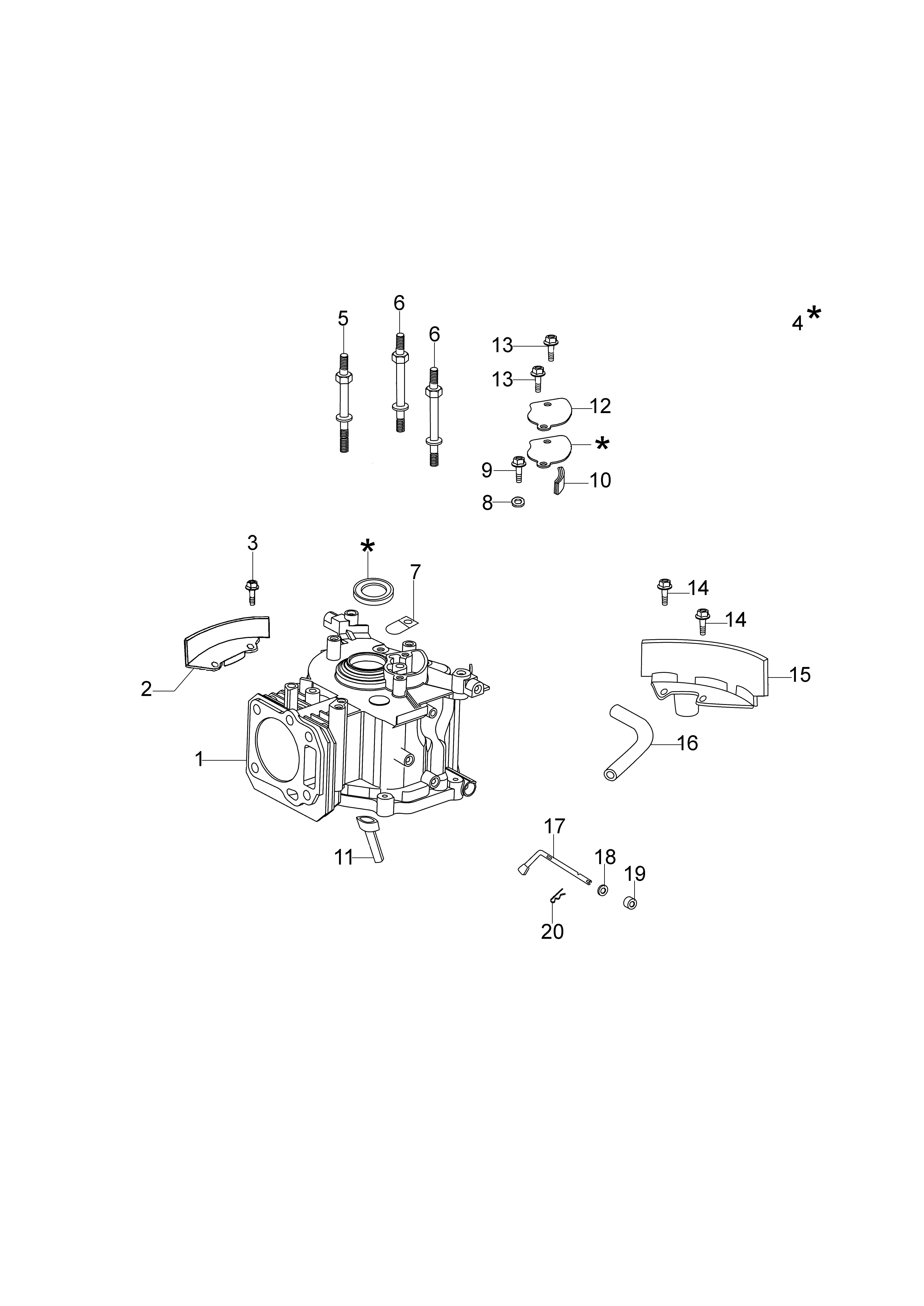 MOTEUR K40 emak Dessins pièces - Cylindre et soubassement