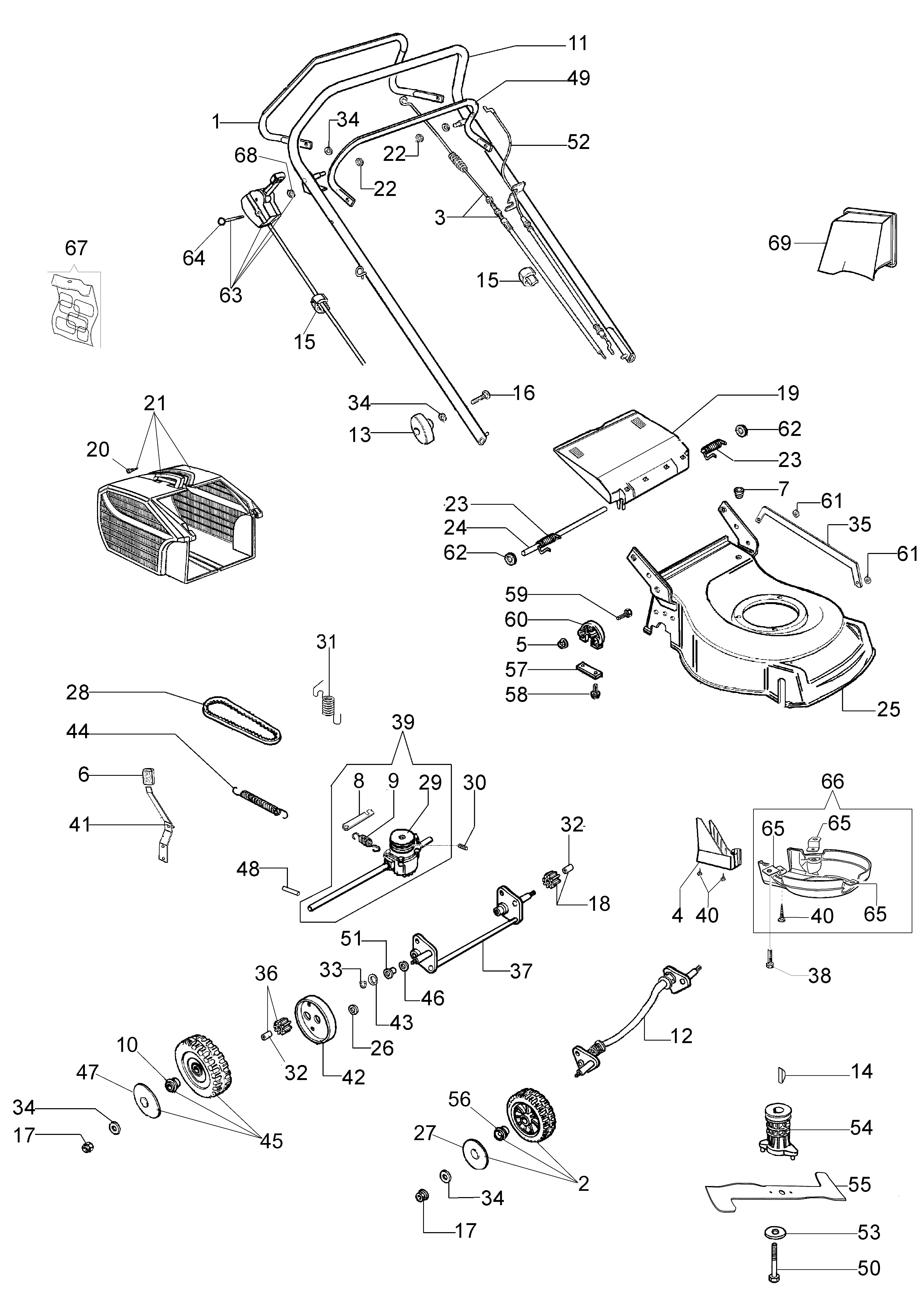 G 48 TK (K50) Oleomac Dessins pièces -  Vue éclatée