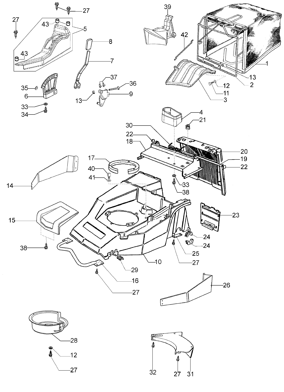LUX 55 HXF Oleomac vue éclatée Dessins pièces -  Châssis