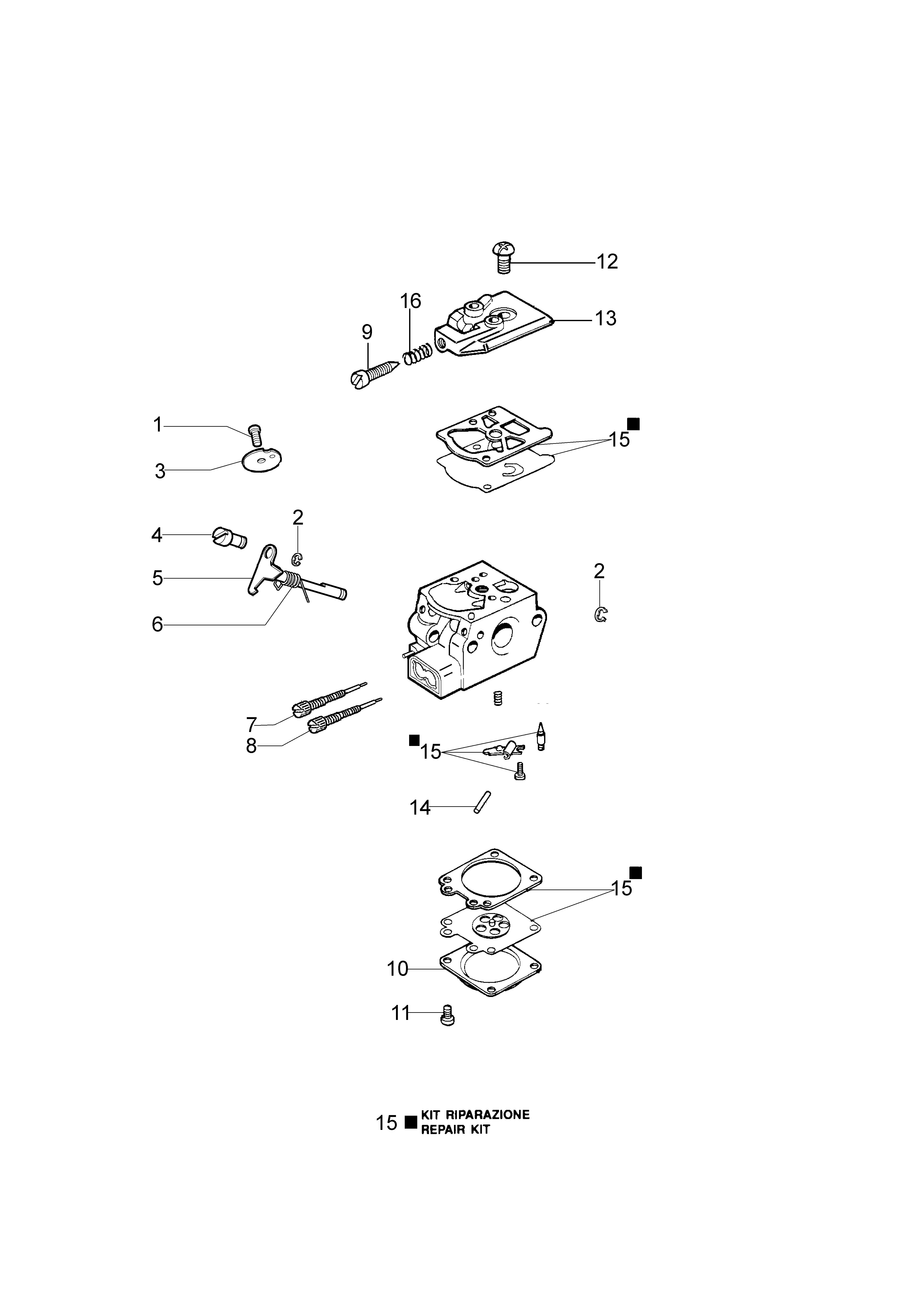 SPARTA 42 BP oleomac Dessins pièces vue éclatée Carburateur WT-869