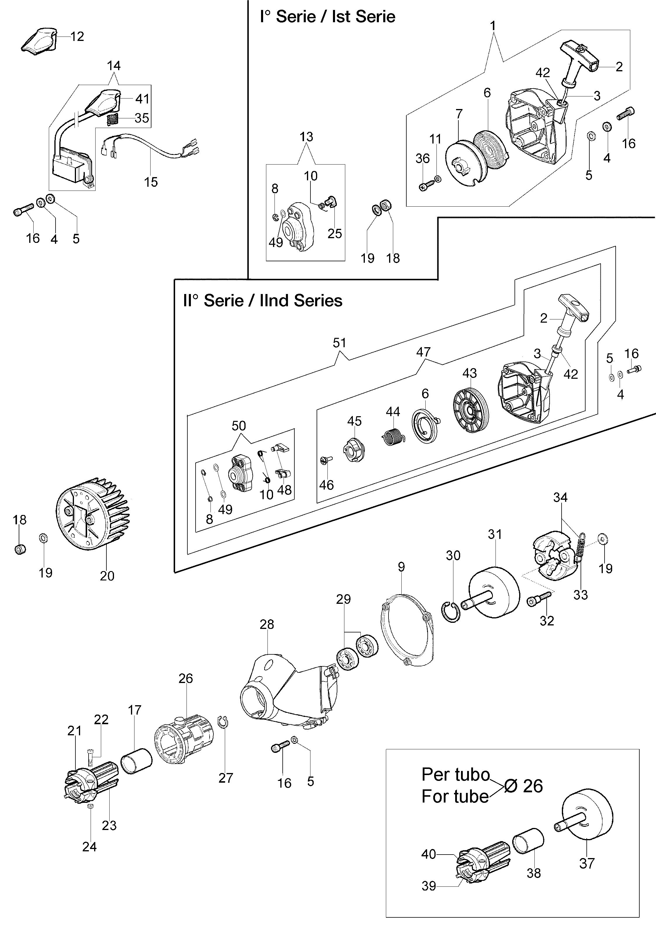 BC 380 Toleomac  Dessins pièces vue éclatée Démarrage et embrayage