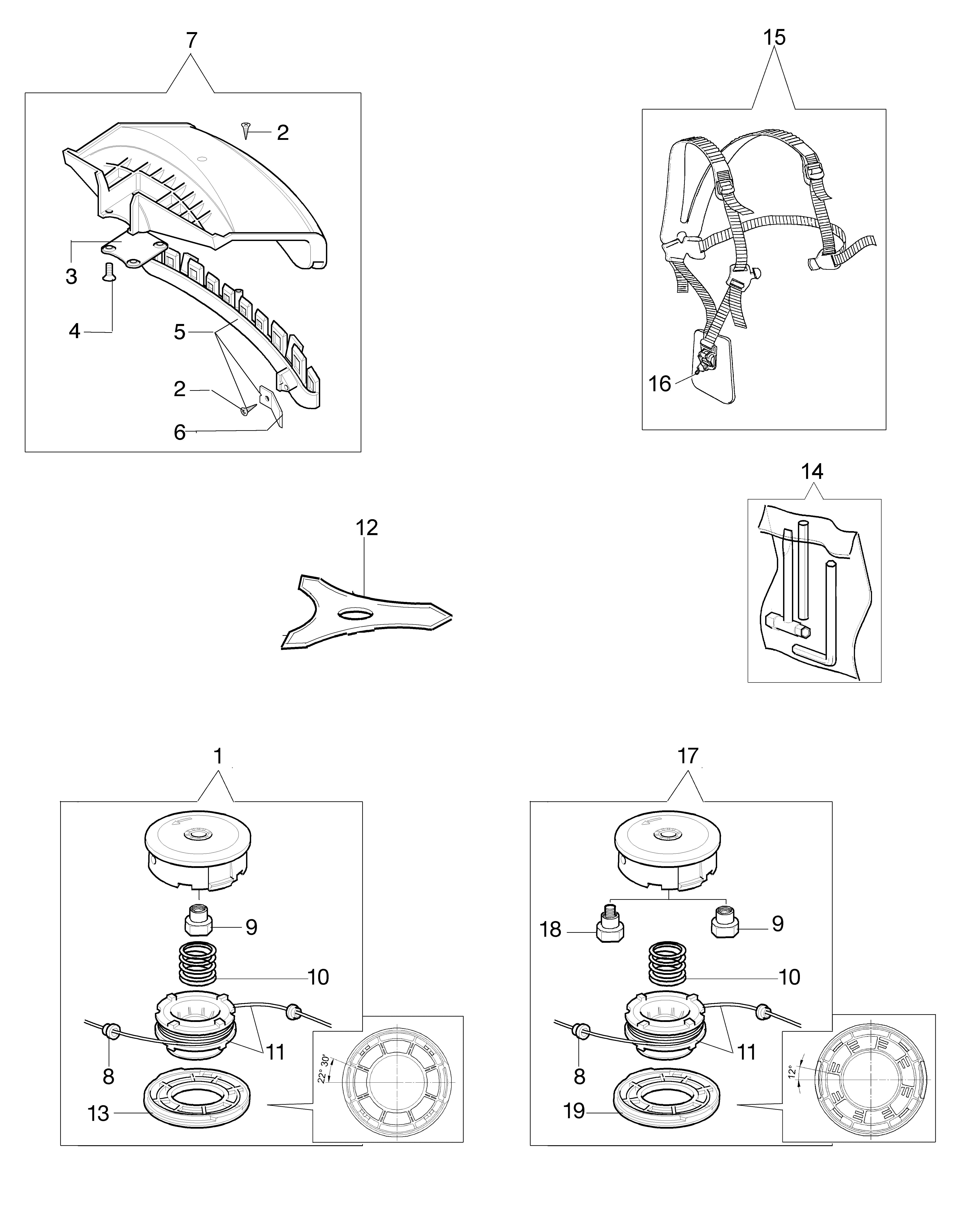 BC 380 T oleomac Dessins pièces vue éclatée Accessoires
