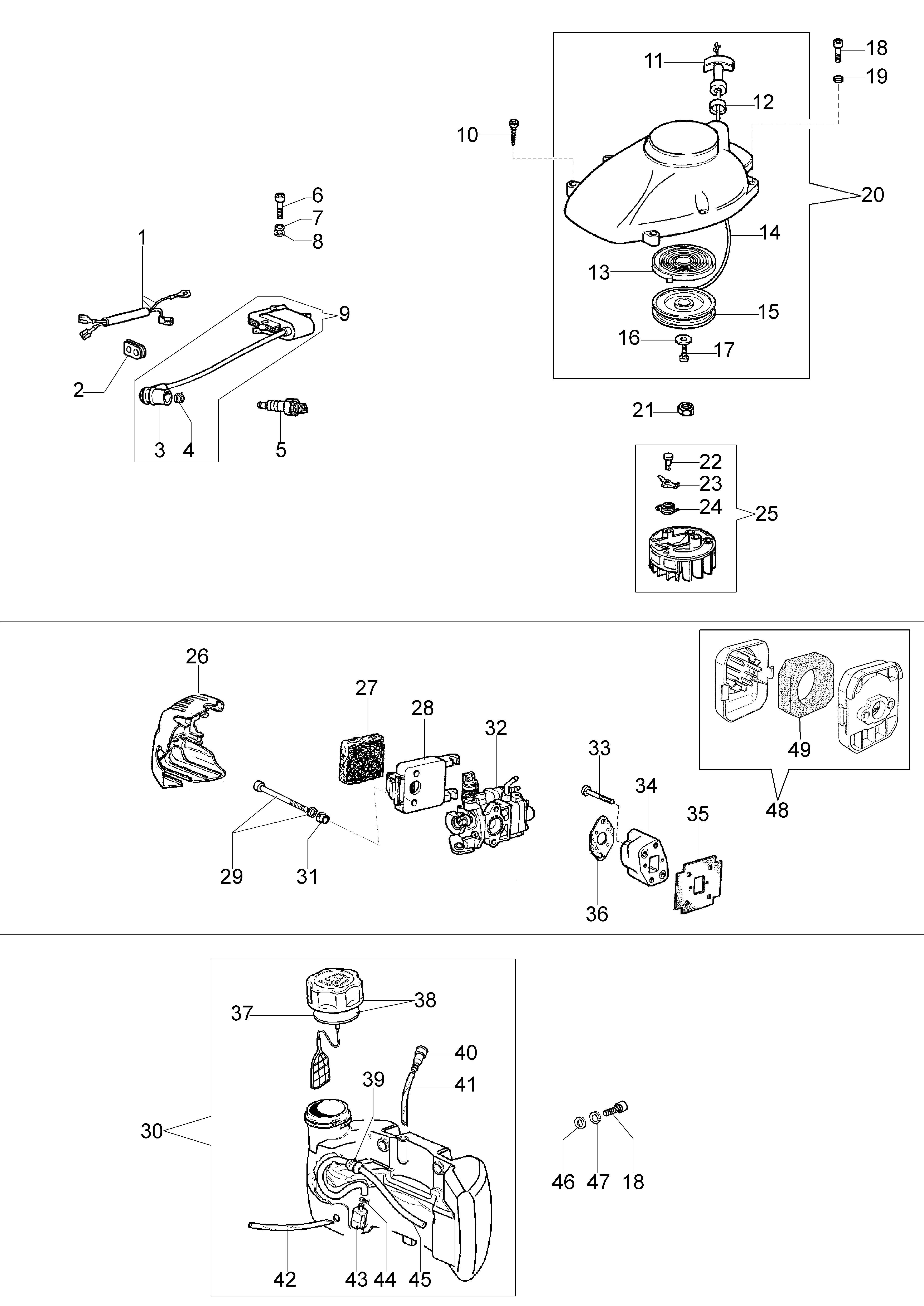 HC 260 XP Taille-haies  OLEOMAC vue éclatée  Dessins pièces -  Dispositif d allumage