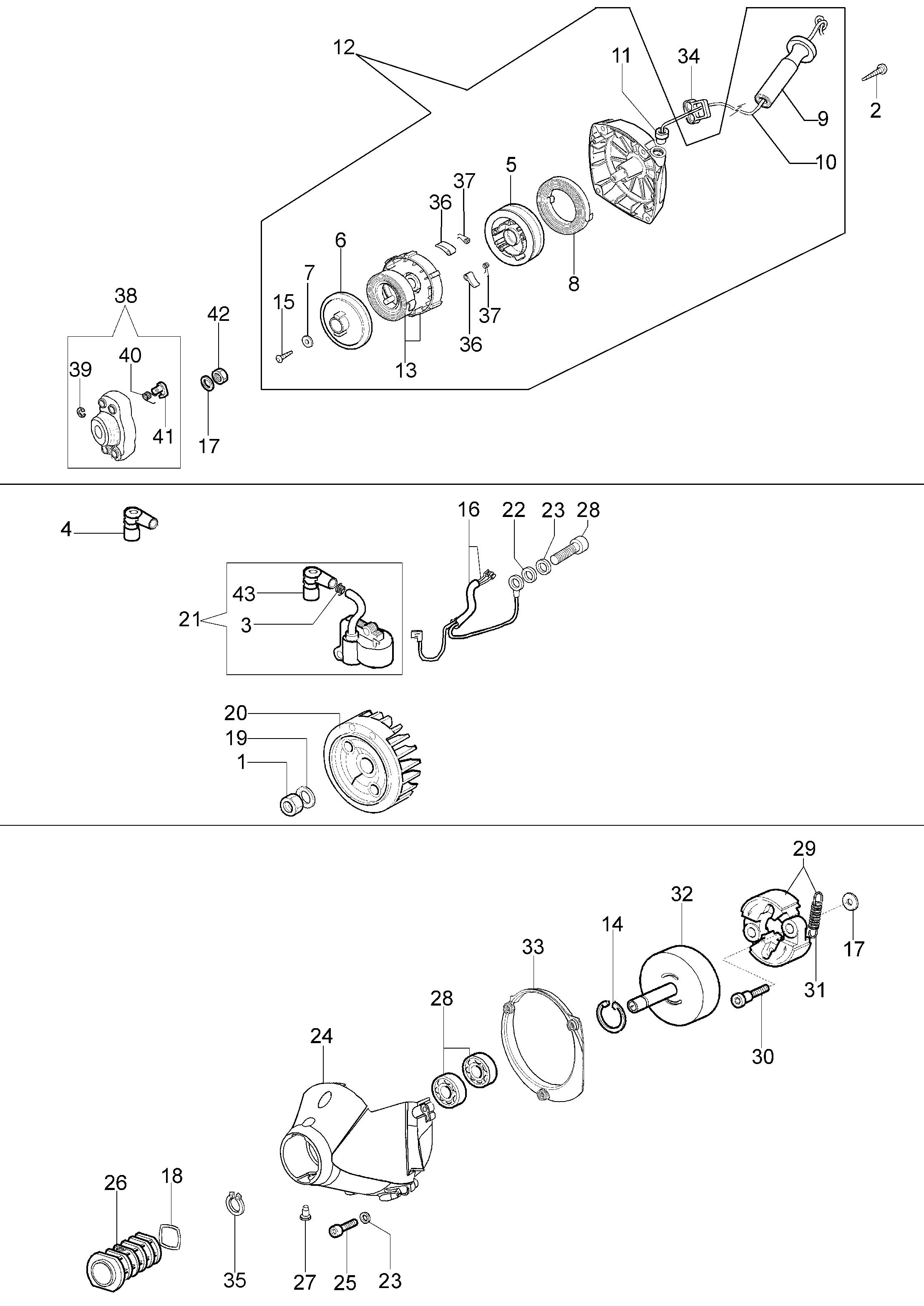 BCF 420 (Euro1 / Euro2) Débroussailleuse oleomac Dessins pièces vue éclatée Démarrage et embrayage
