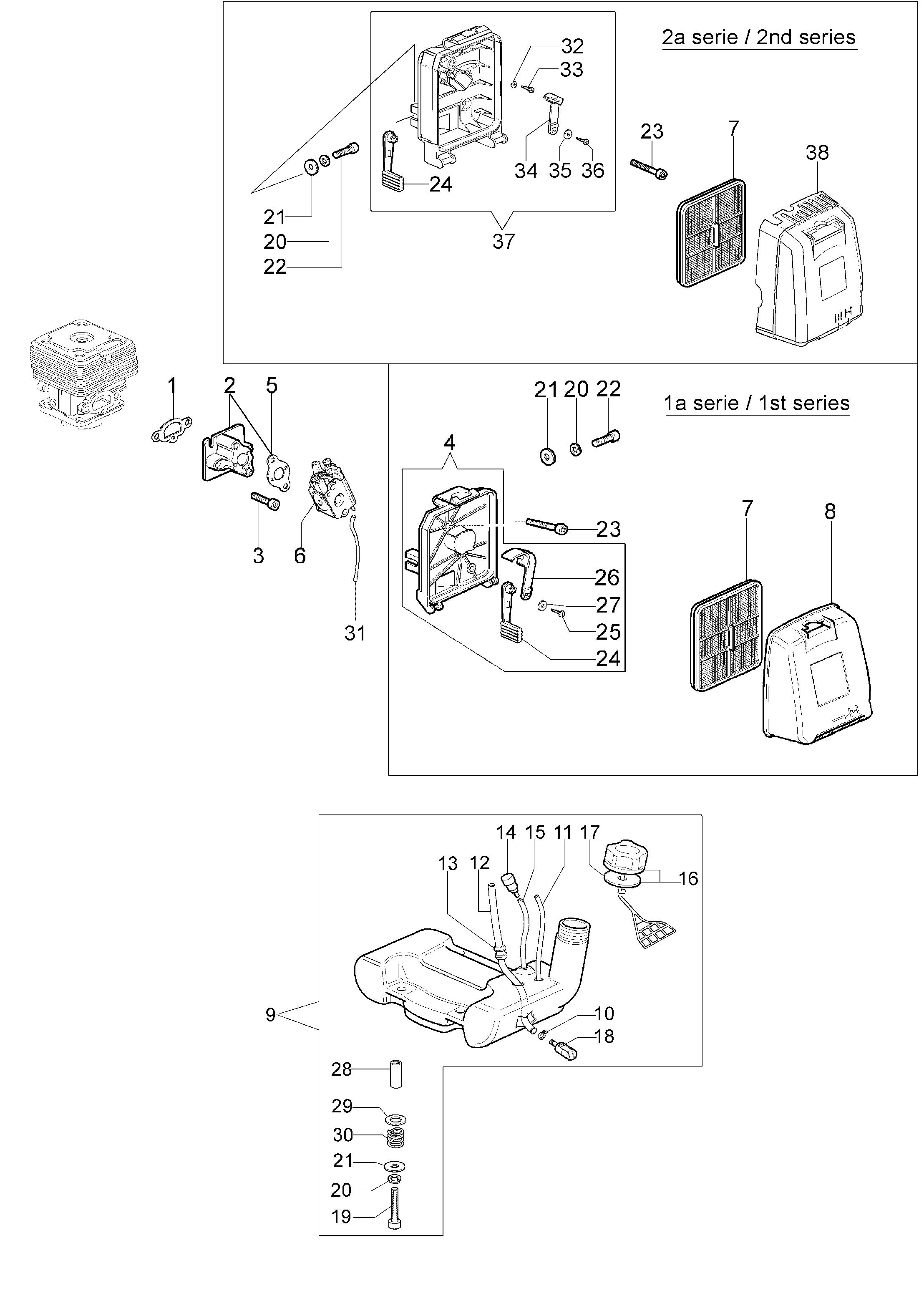 SPARTA 42 BP oleomac Dessins pièces vue éclatée Réservoir et filtre air