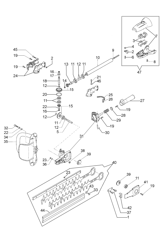 Taille-haies tuyau court OLEOMAC vue éclatée Dessins pièces -  Taille-haies tuyau court
