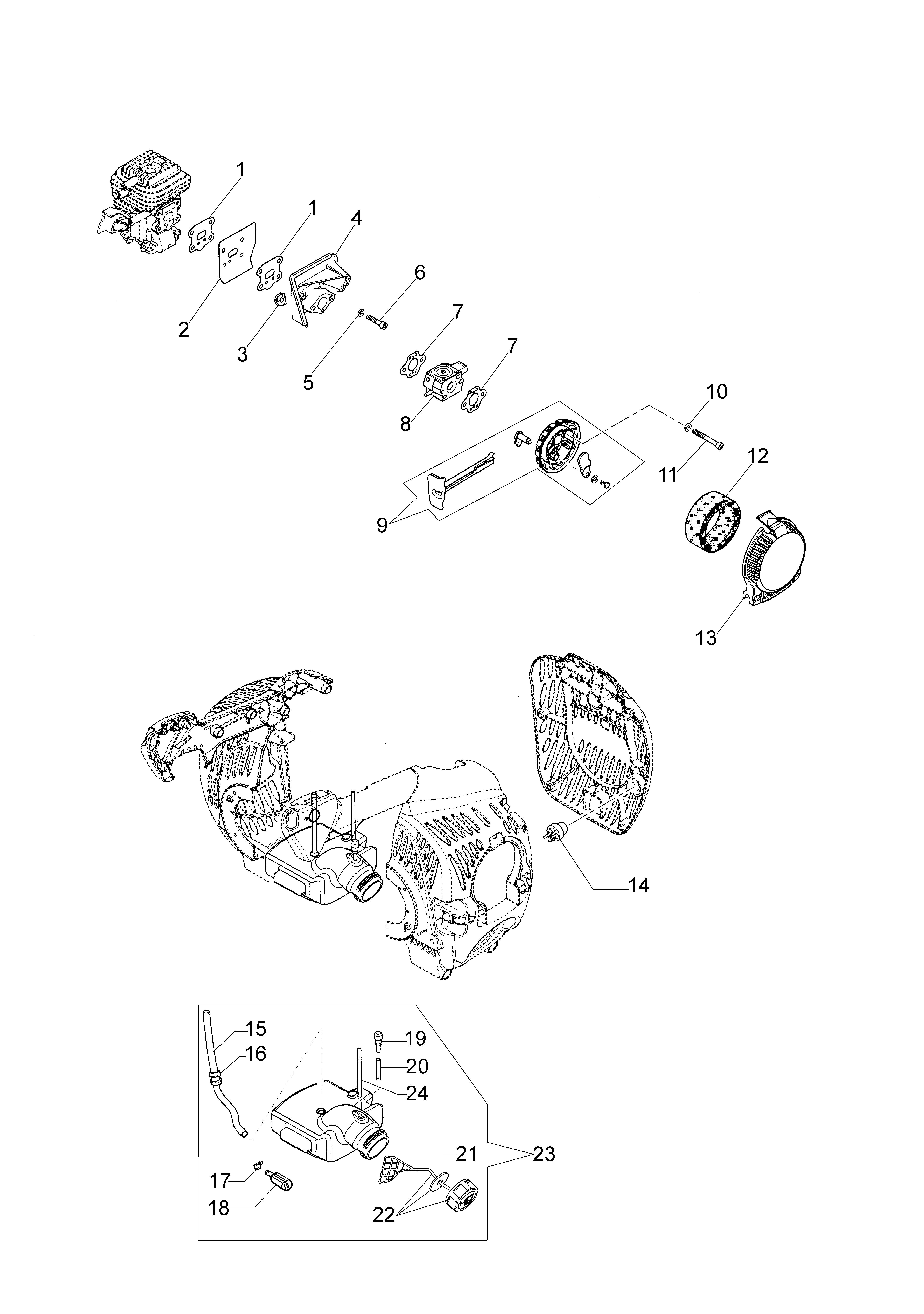 Unité motrice  OLEOMAC vue éclatée  Dessins pièces -  Réservoir et filtre air