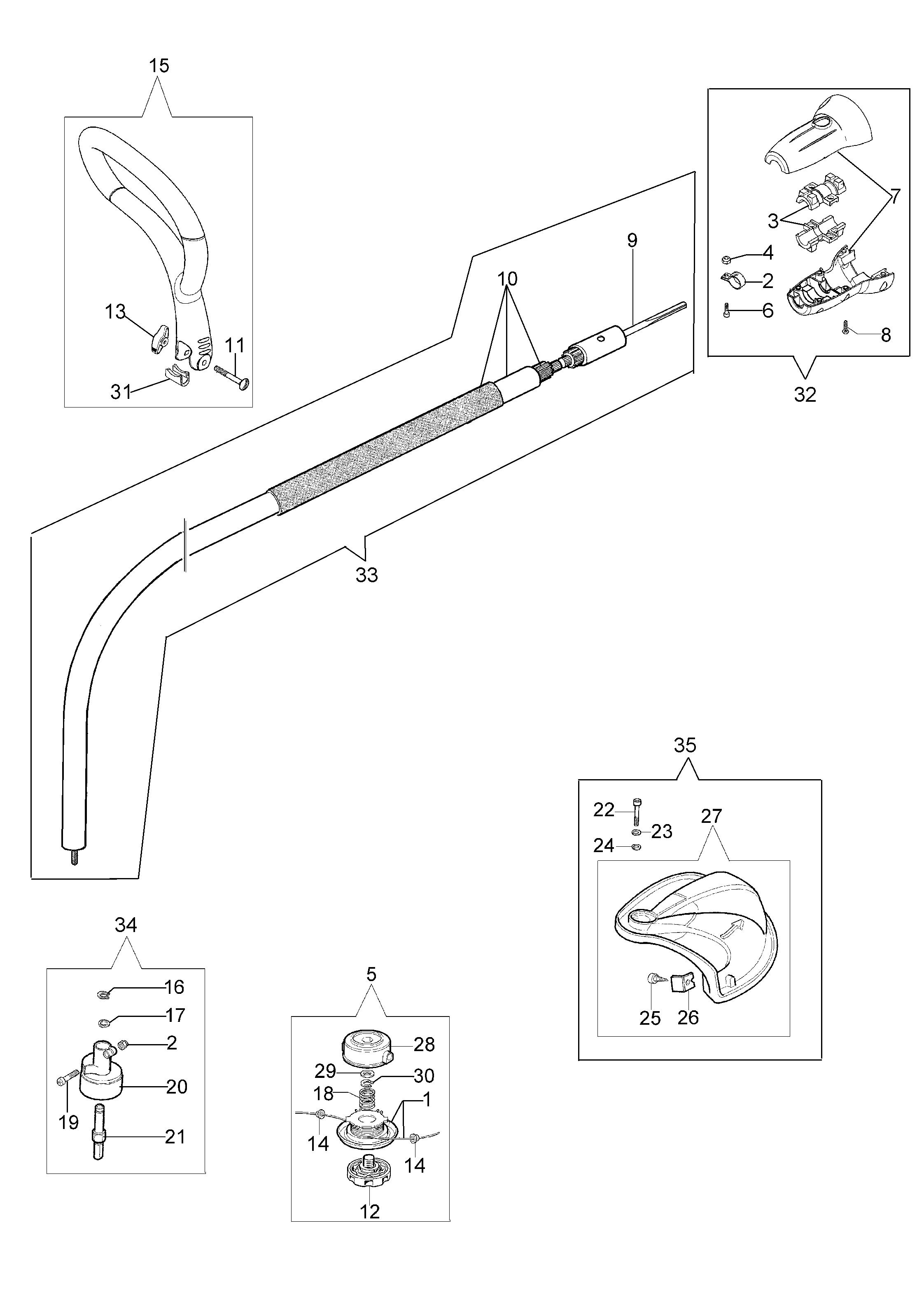 Trimmer OLEOMAC vue éclatée Dessins pièces -  Trimmer