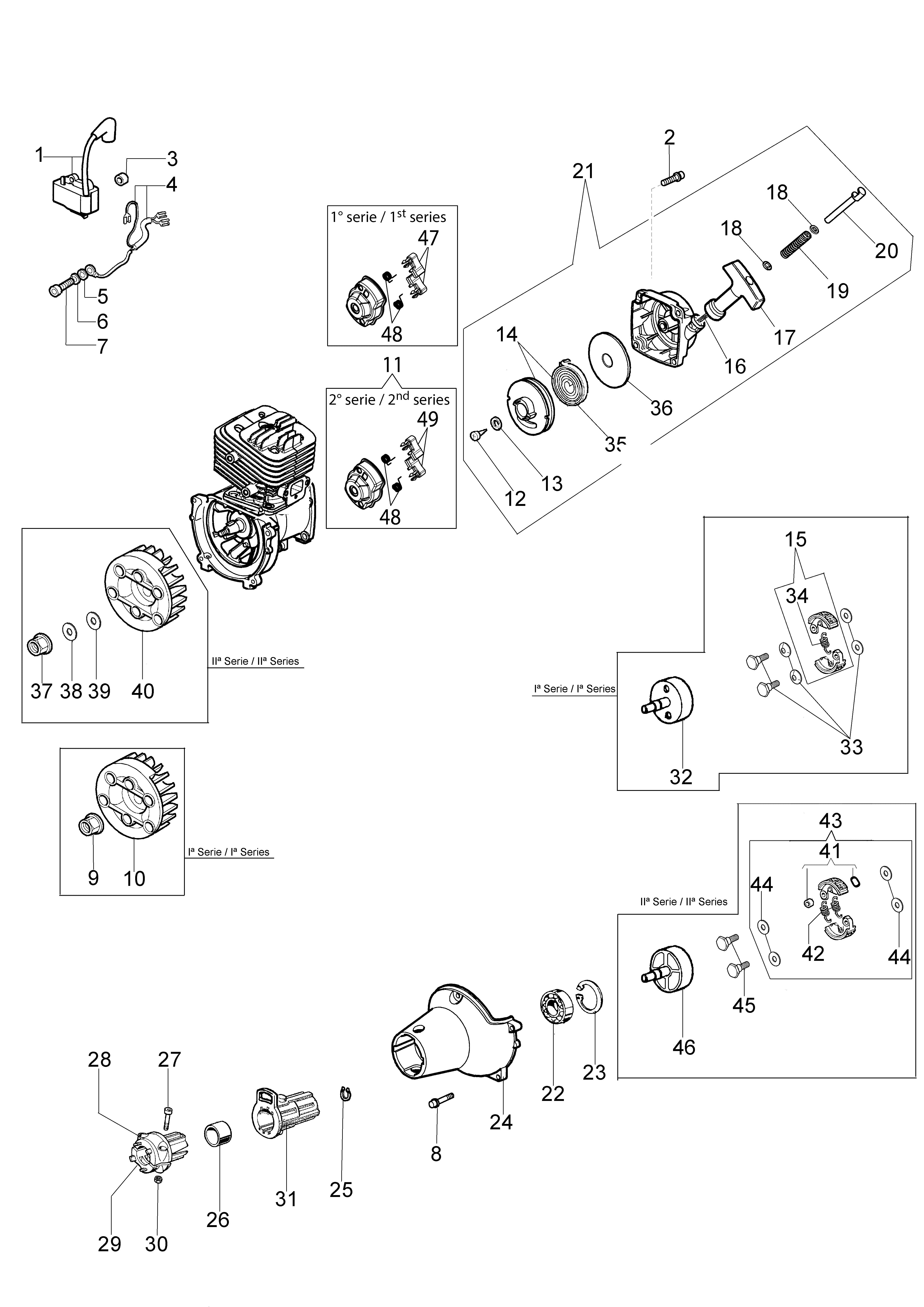 BC 320 T oleomac Dessins pièces vue éclatée Démarrage et embrayage