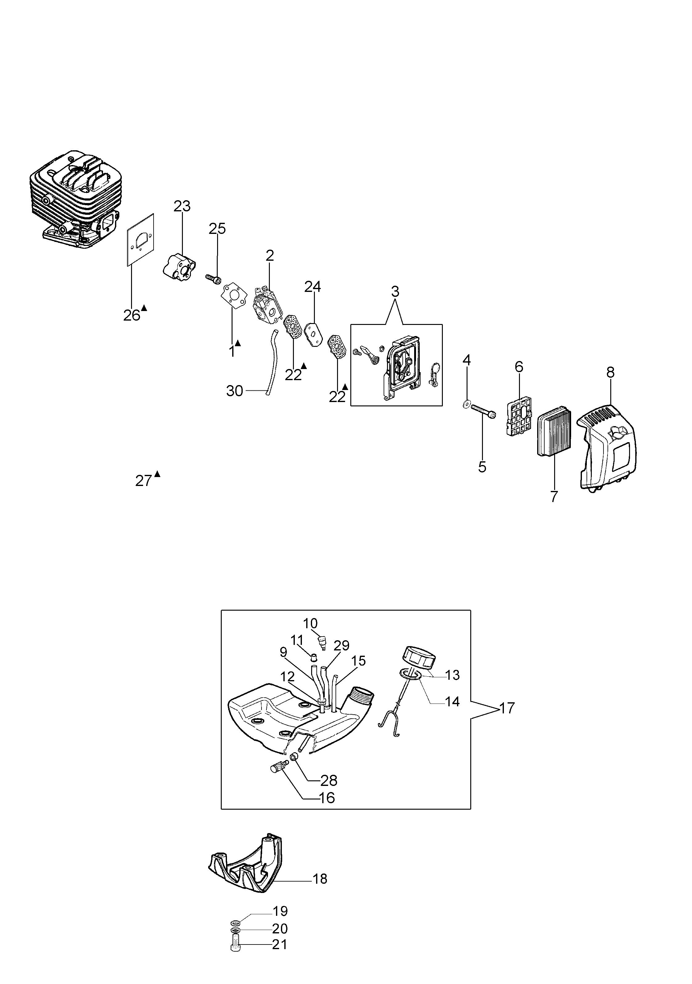 BC 320 T oleomac Dessins pièces vue éclatée Réservoir et filtre air