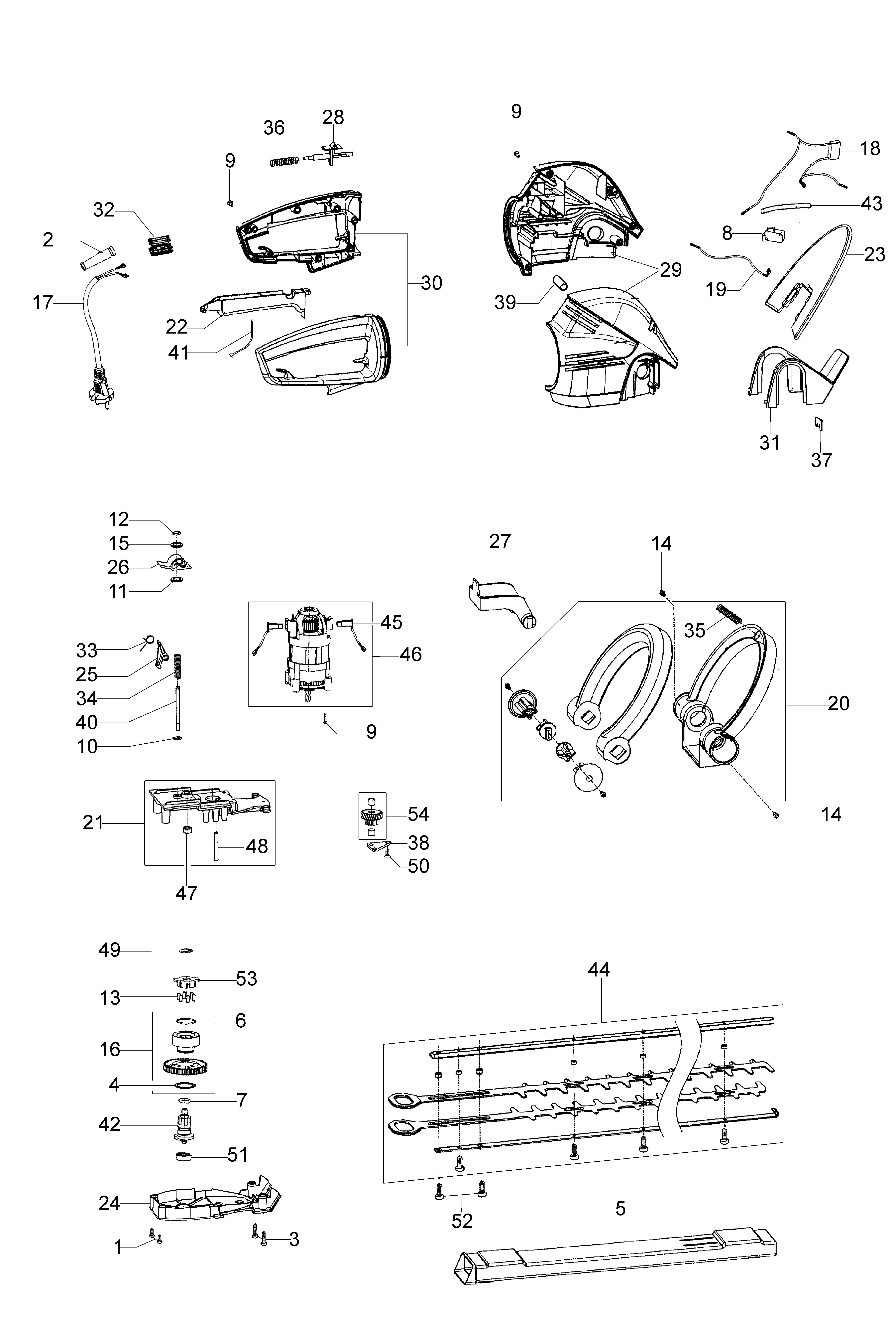 HC 750 E Taille-haies électrique OLEOMAC Dessins pièces - Vue éclatée