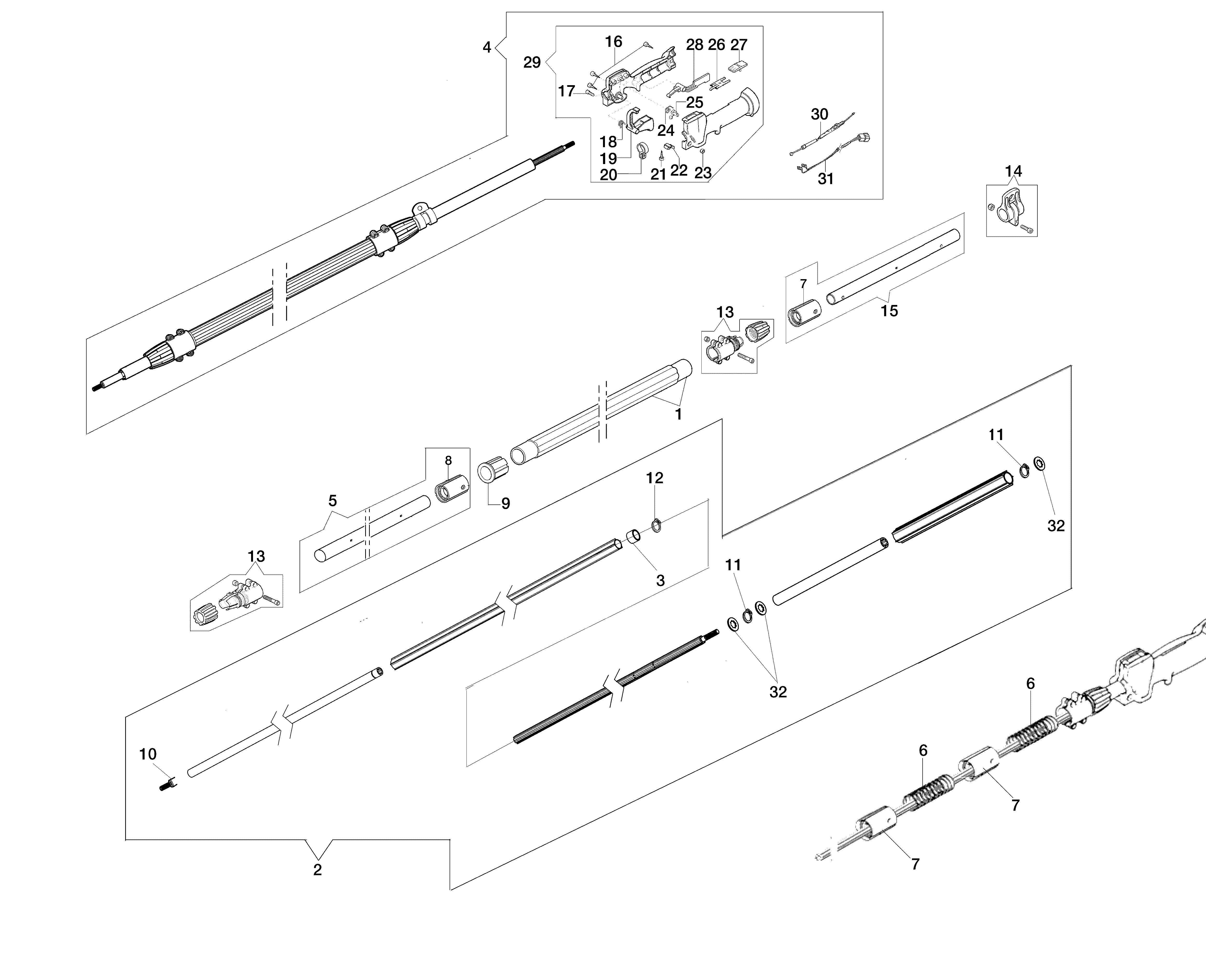 PPX 270 Elagueuses sur perche oleomac Dessins pièces vue éclatée Tige (Transmission)