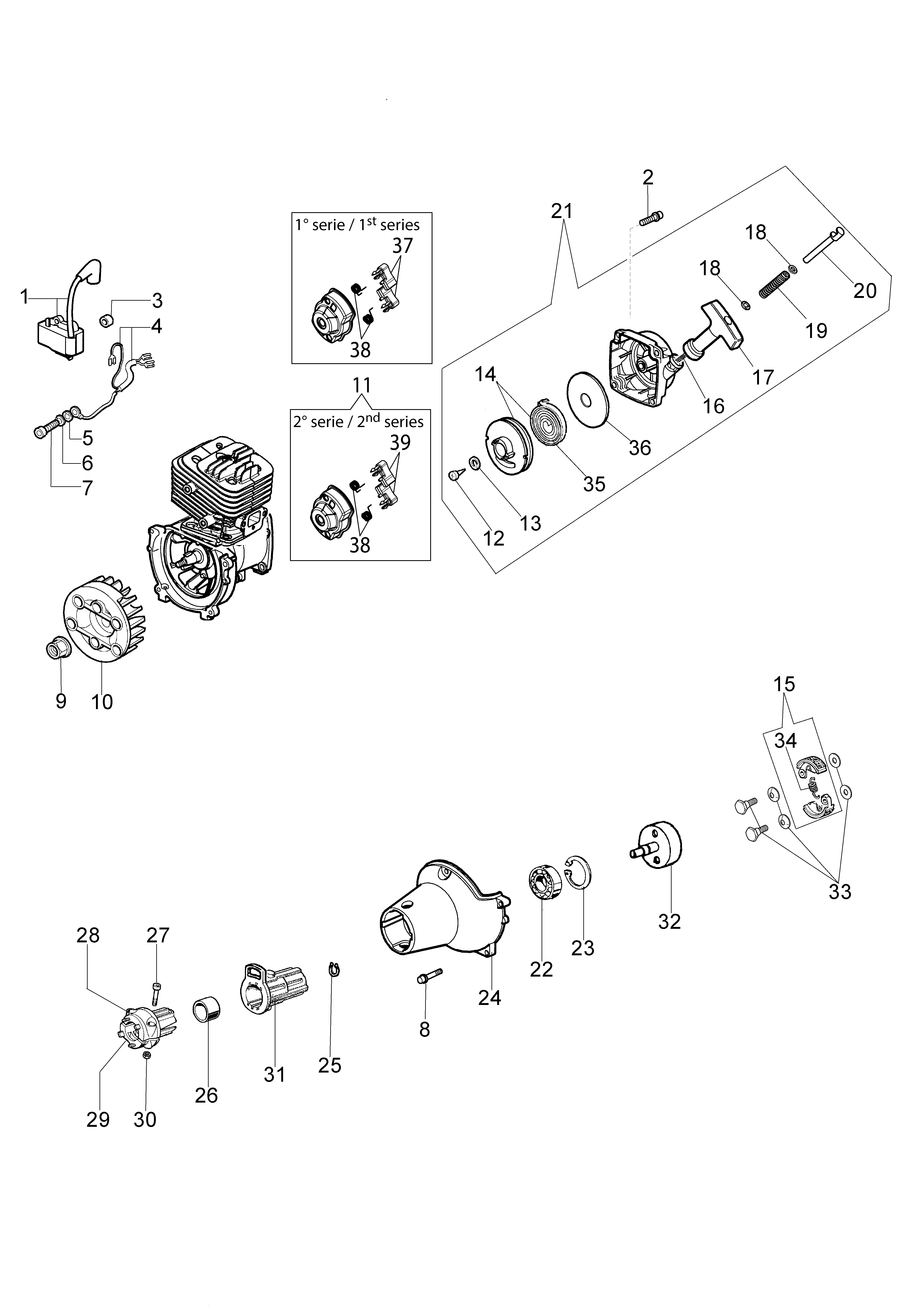 PPX 270 Elagueuses sur perche oleomac Dessins pièces vue éclatée Démarrage et embrayage