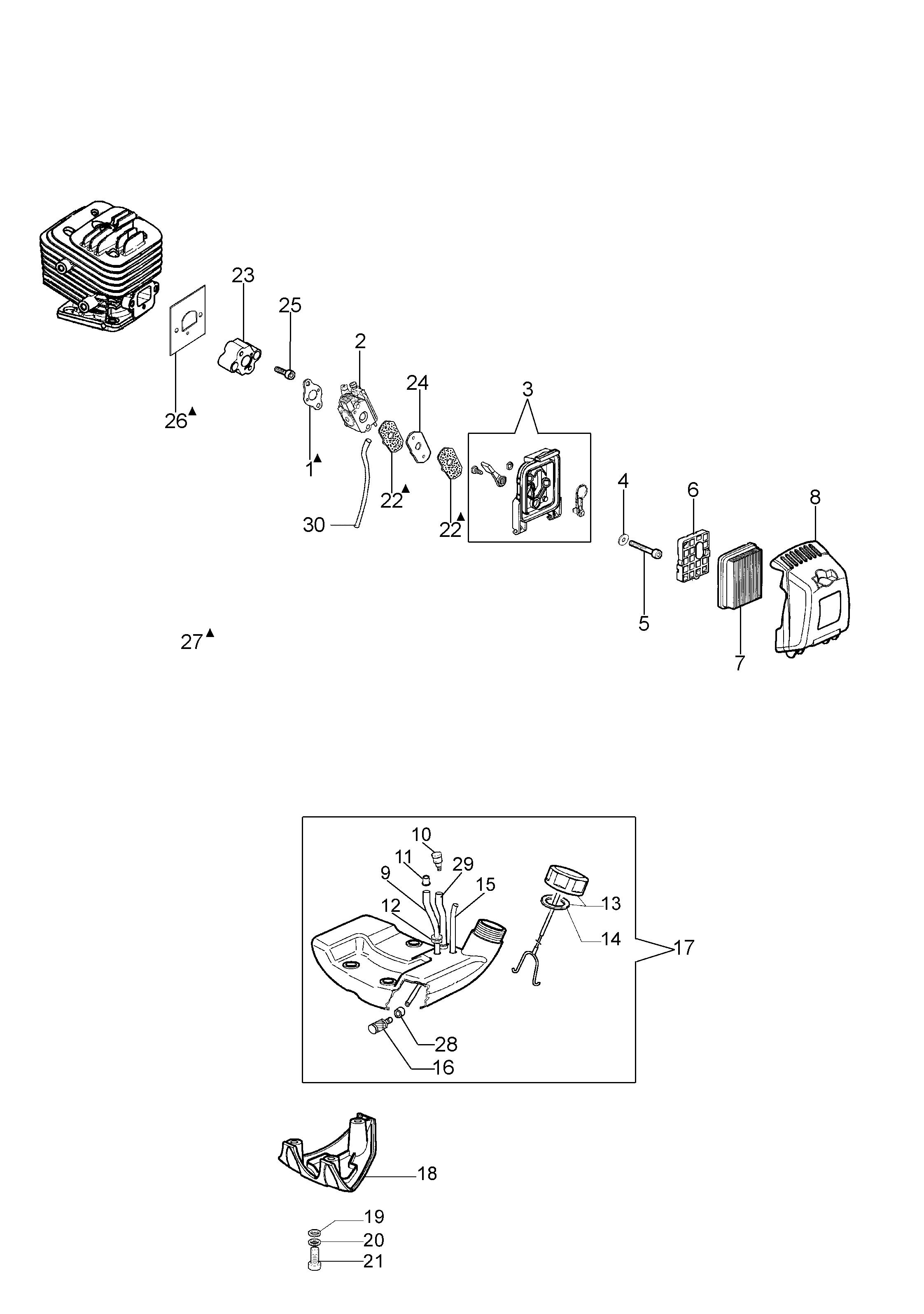 PPX 270 Elagueuses sur perche oleomac Dessins pièces vue éclatée Réservoir et filtre à air
