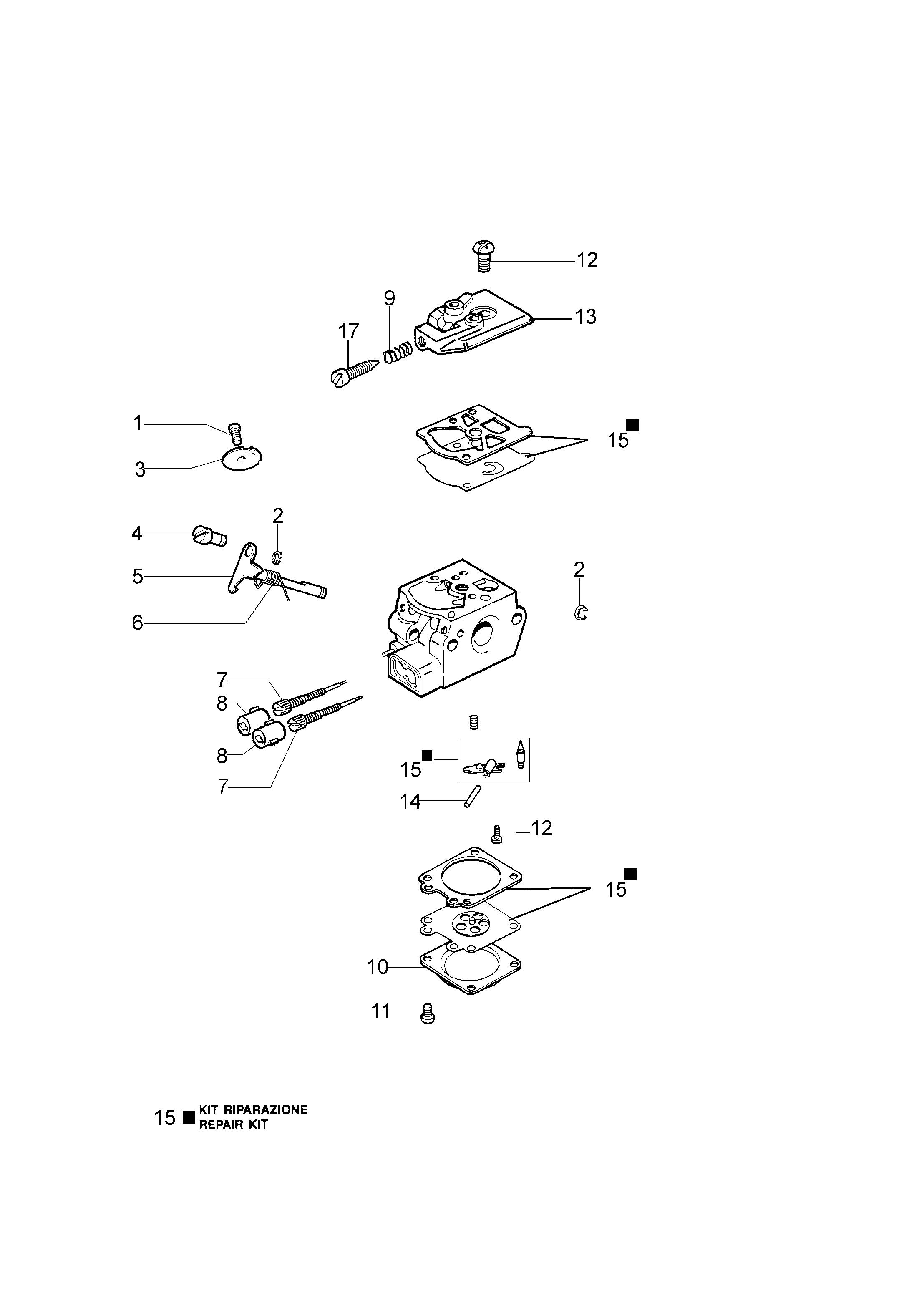 PPX 270 Elagueuses sur perche oleomac Dessins pièces vue éclatée Carburateur