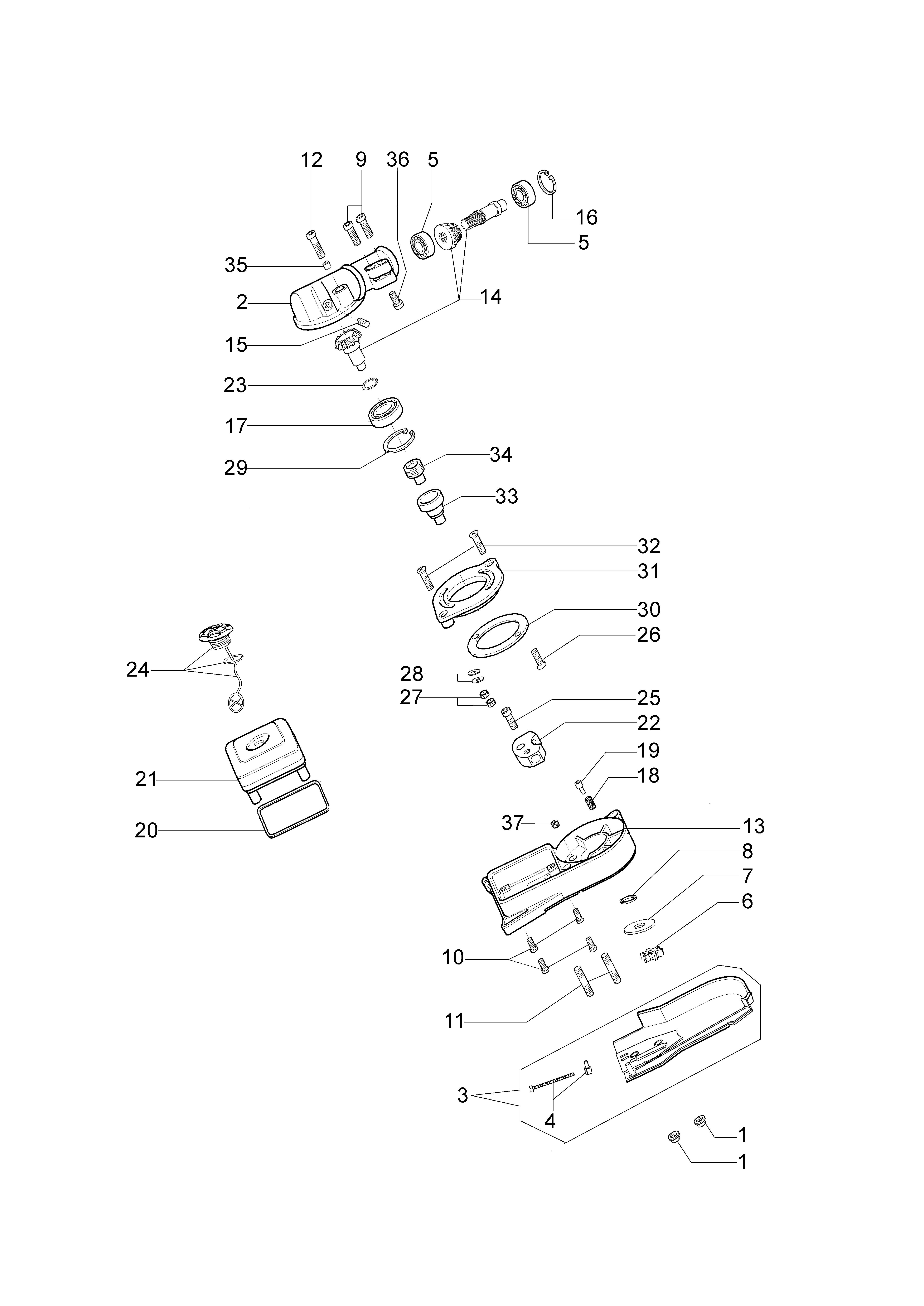 PPX 270 Elagueuses sur perche oleomac Dessins pièces vue éclatée Accessoire pruner (tête de coupe)