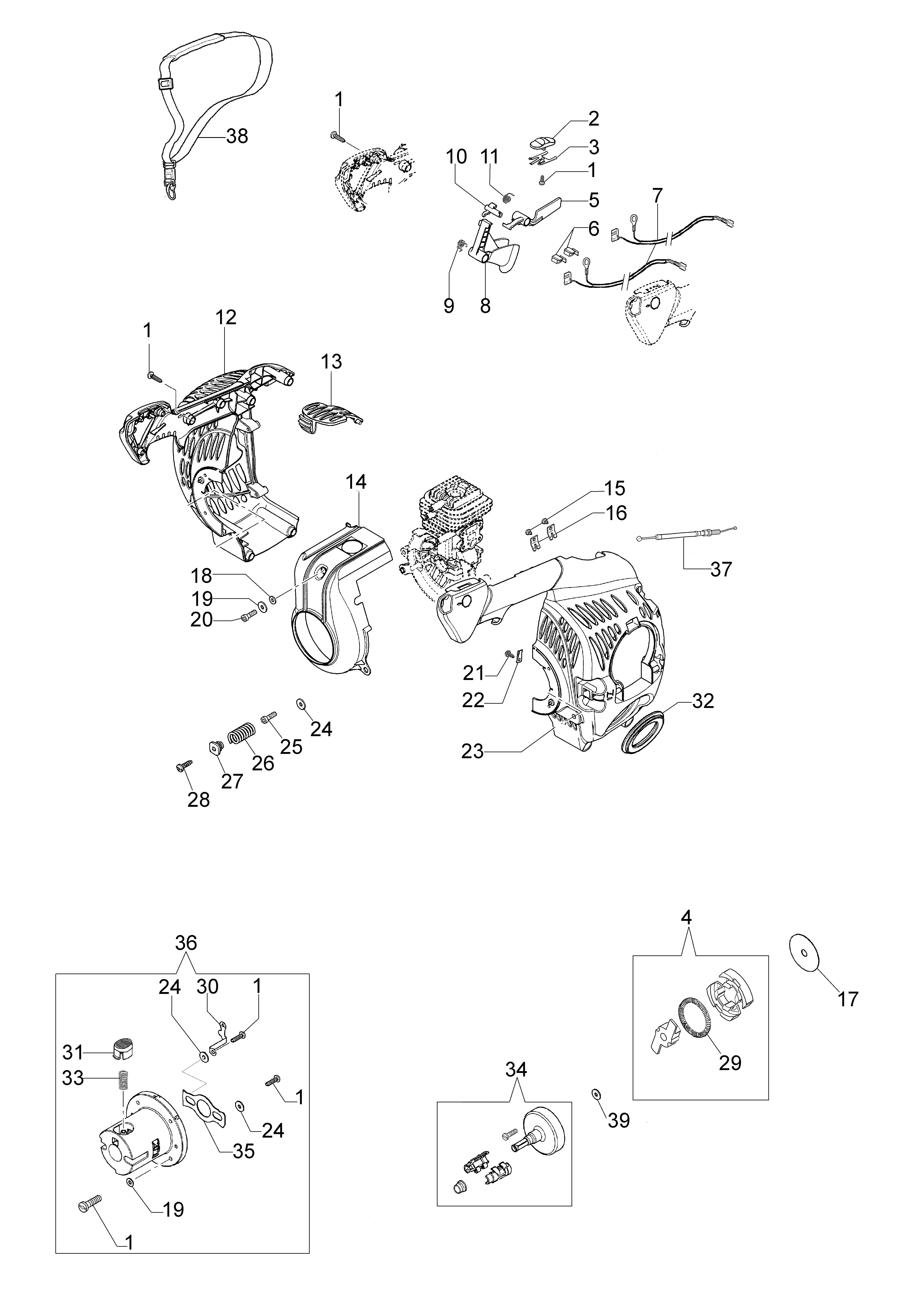 Unité motrice  OLEOMAC vue éclatée  Dessins pièces -  Carter moteur et embrayage