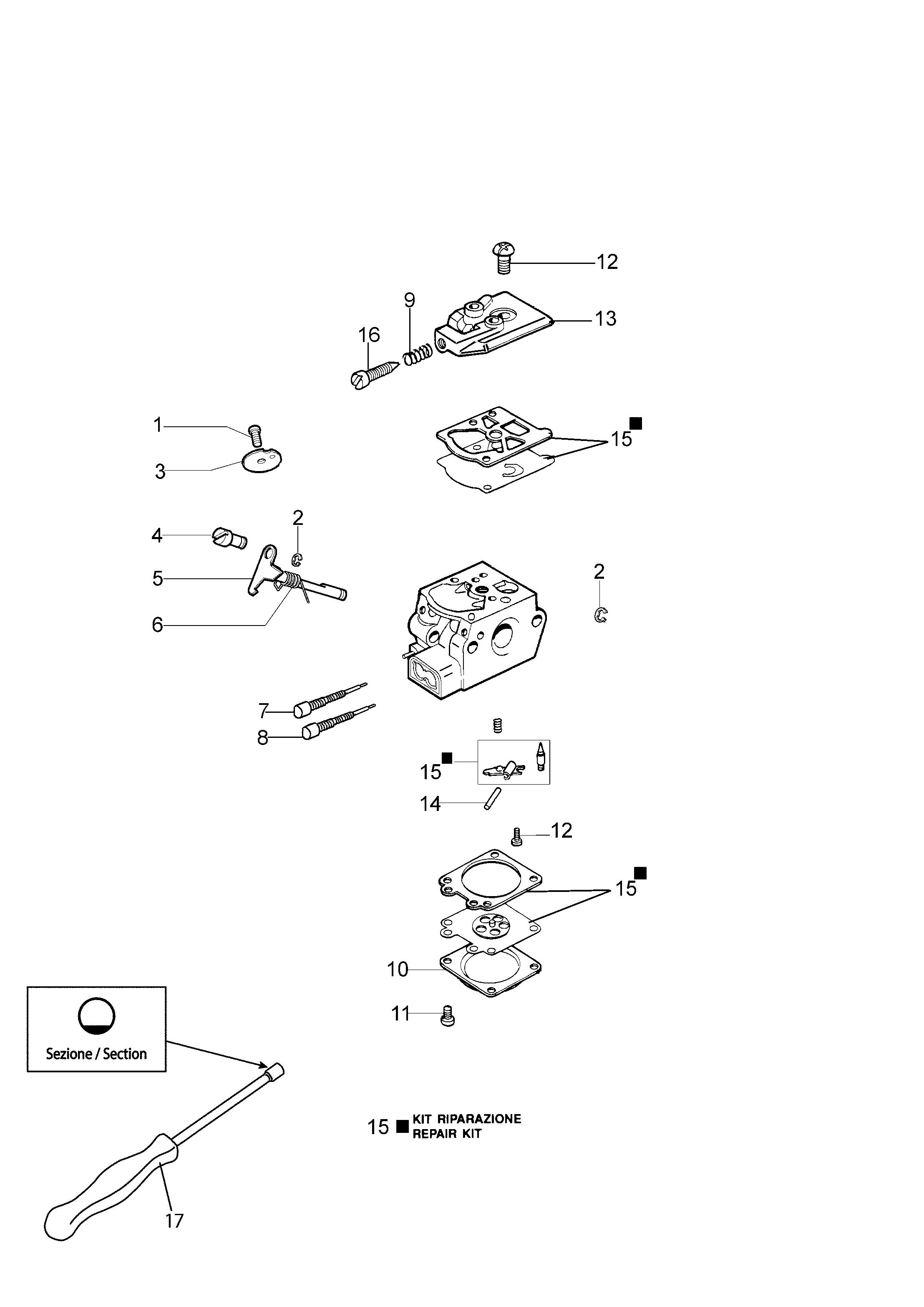 Unité motrice  OLEOMAC vue éclatée  Dessins pièces -  Carburateur WT 936A
