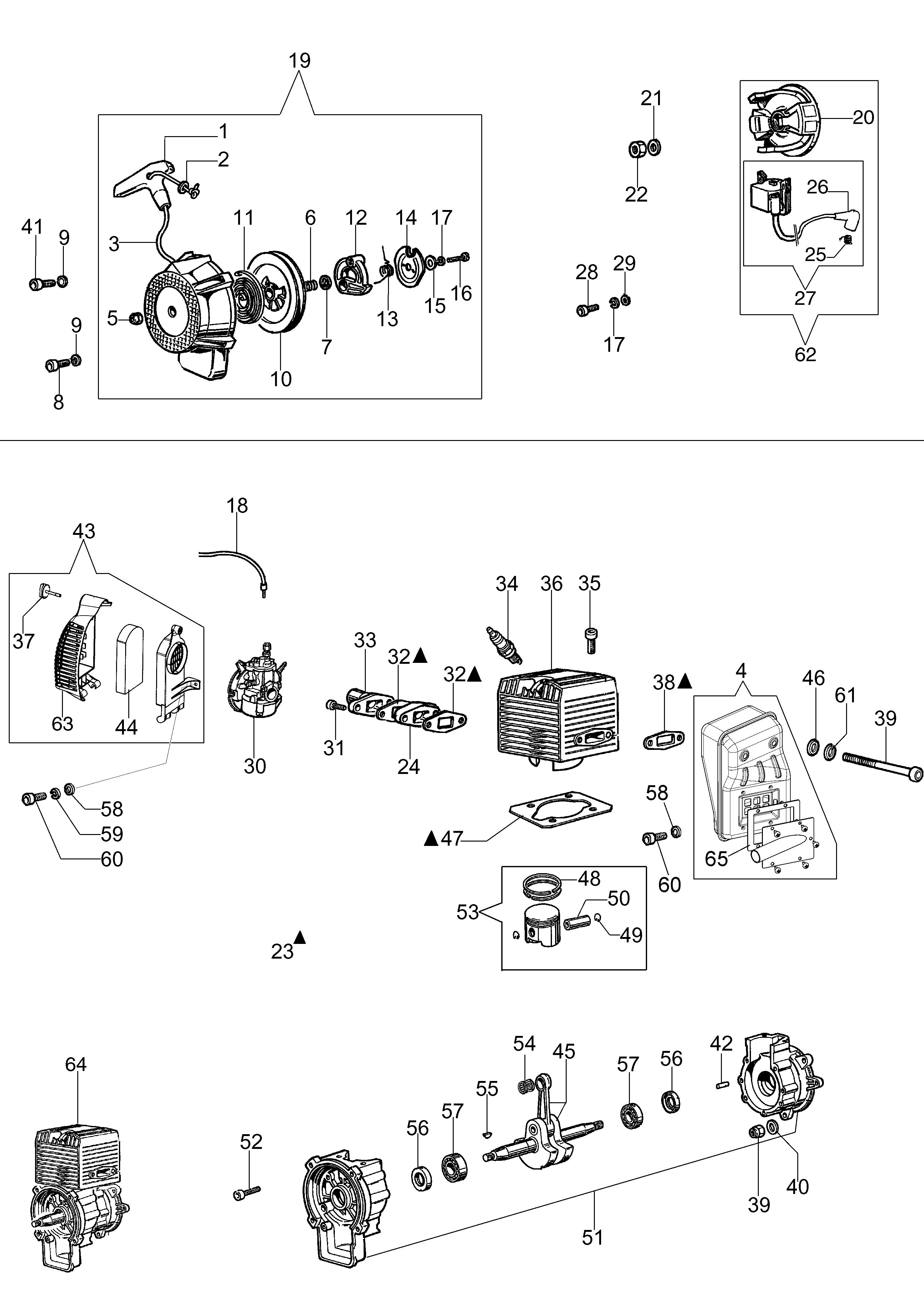 MB 80 Atomiseur oleomac Dessins pièces vue éclatée  Démarrage et moteur