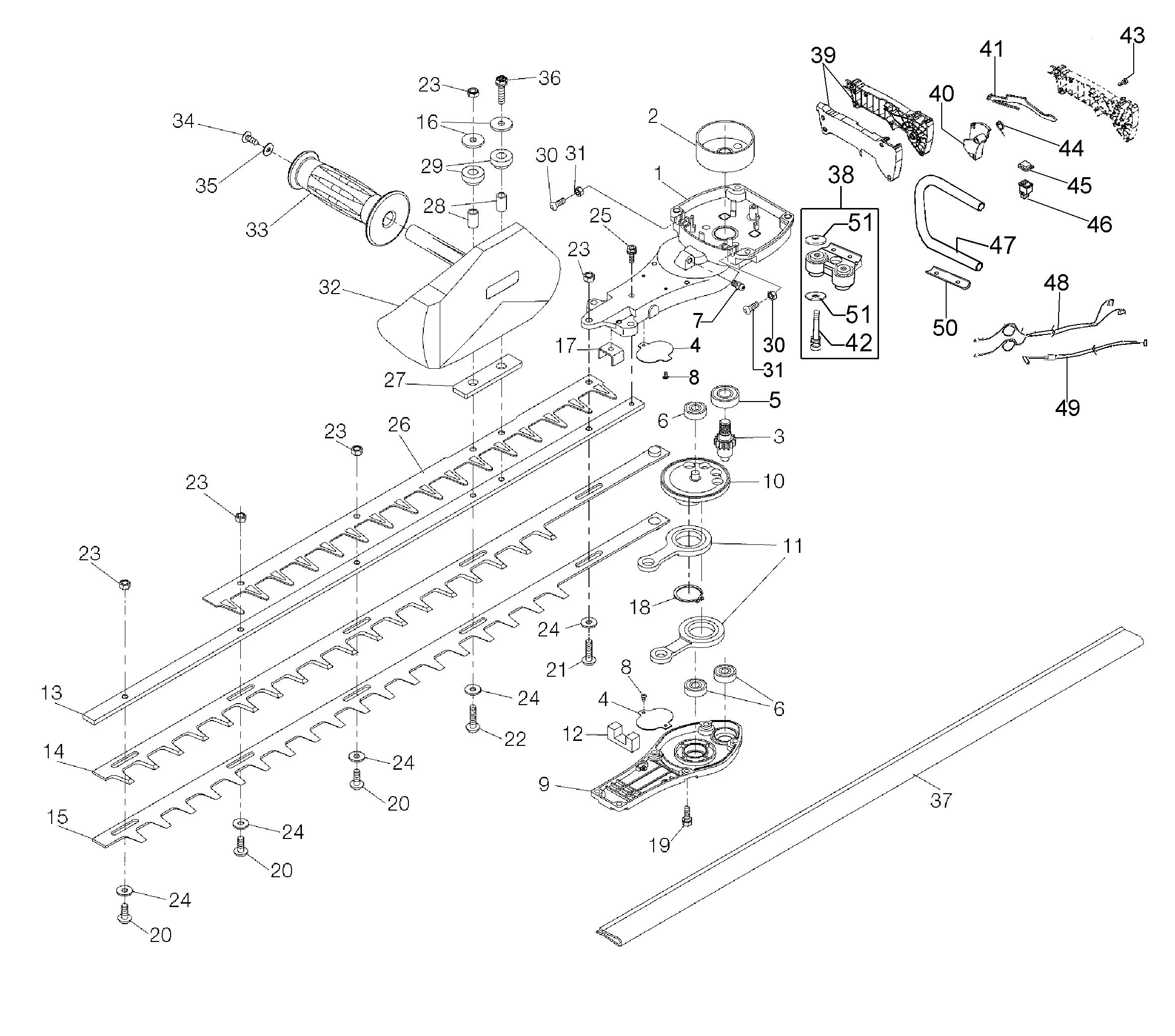 HCS 275 XP Taille-haies OLEOMAC vue éclatée Dessins pièces -  Groupe lames