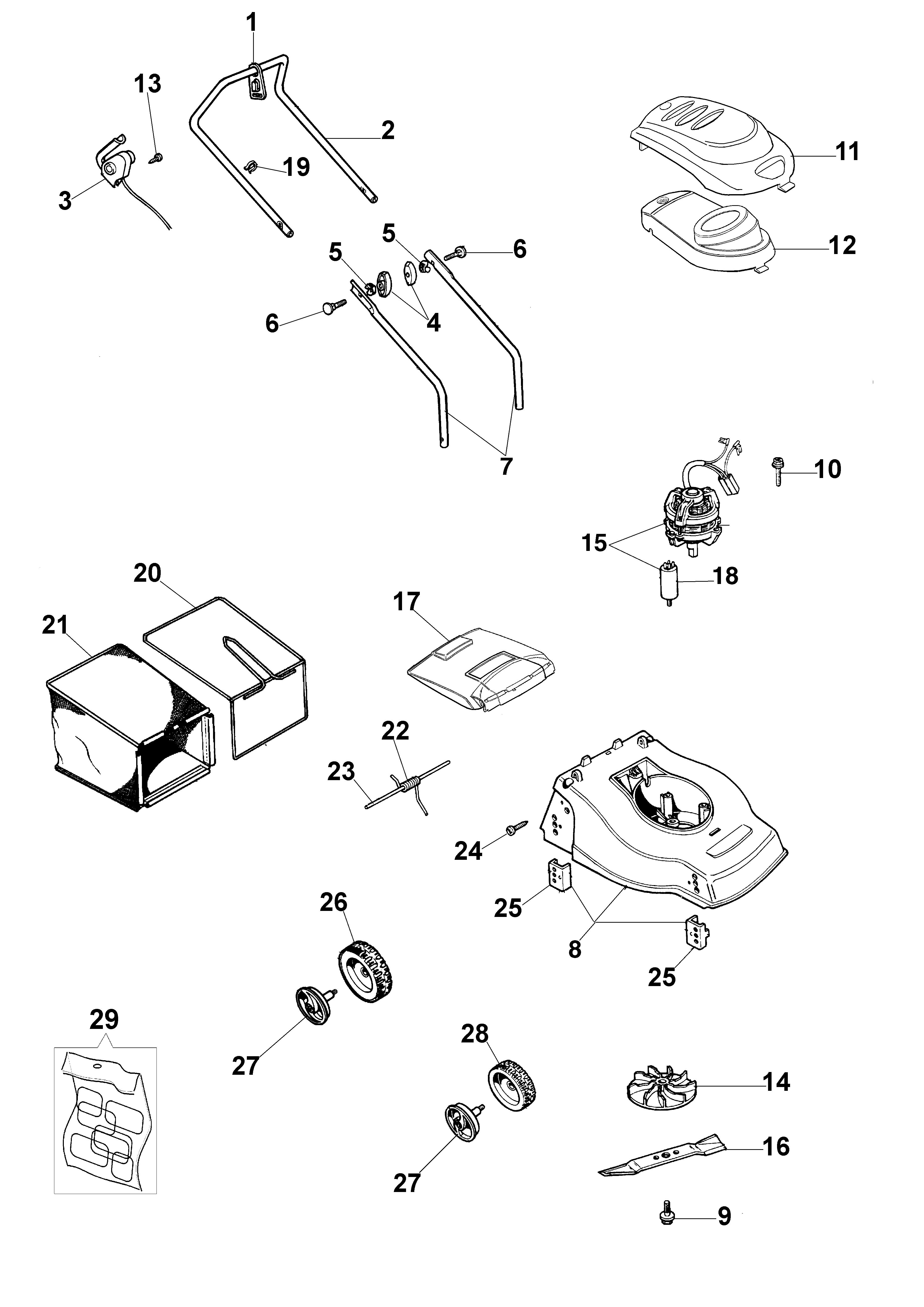 K 40 P Tondeuse électrique oleomac vue éclatée Dessins pièces -  Vue éclatée complète