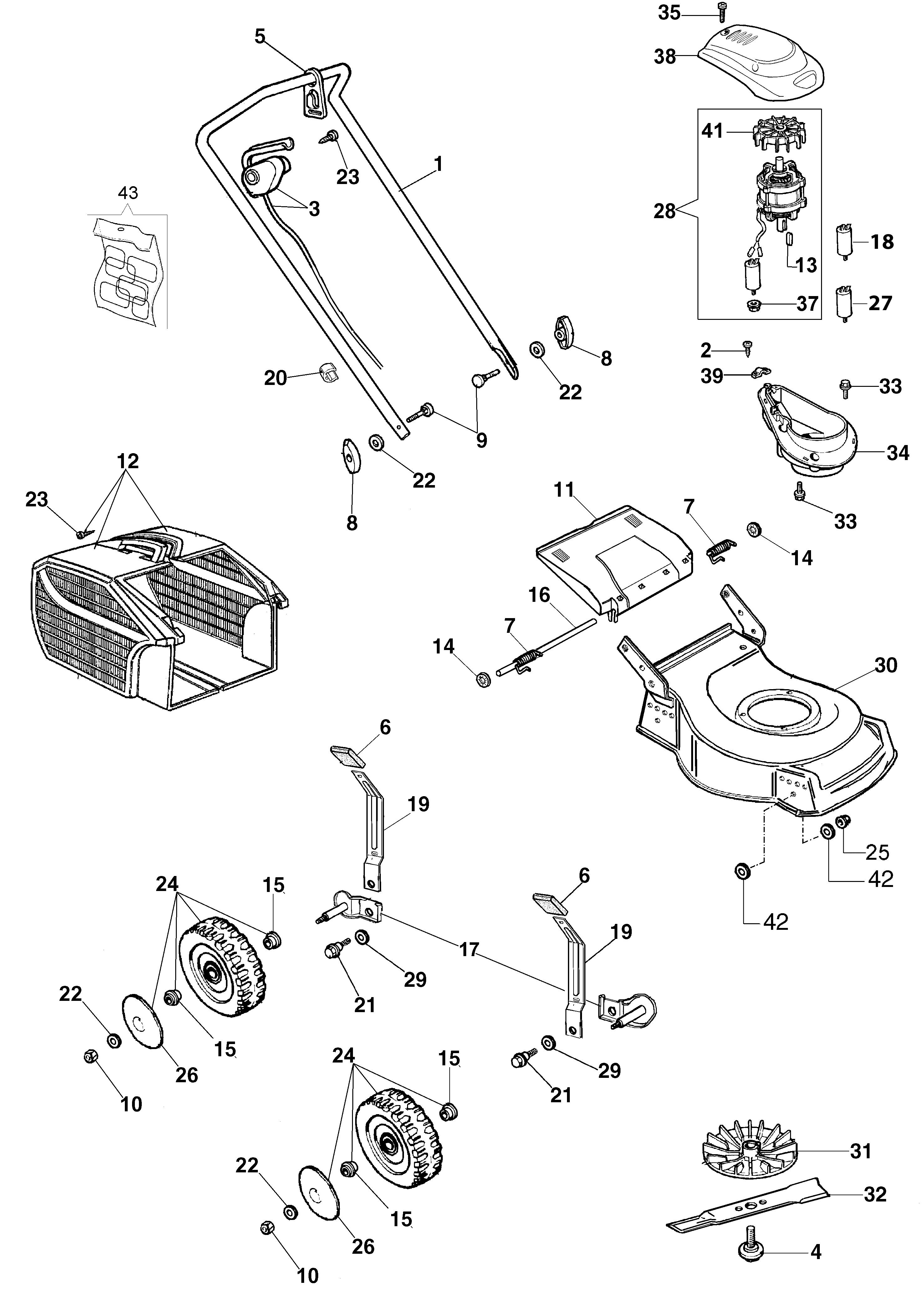 G 48 PE Tondeuse électrique oleomac vue éclatee Dessins pièces -  Vue éclatée complète