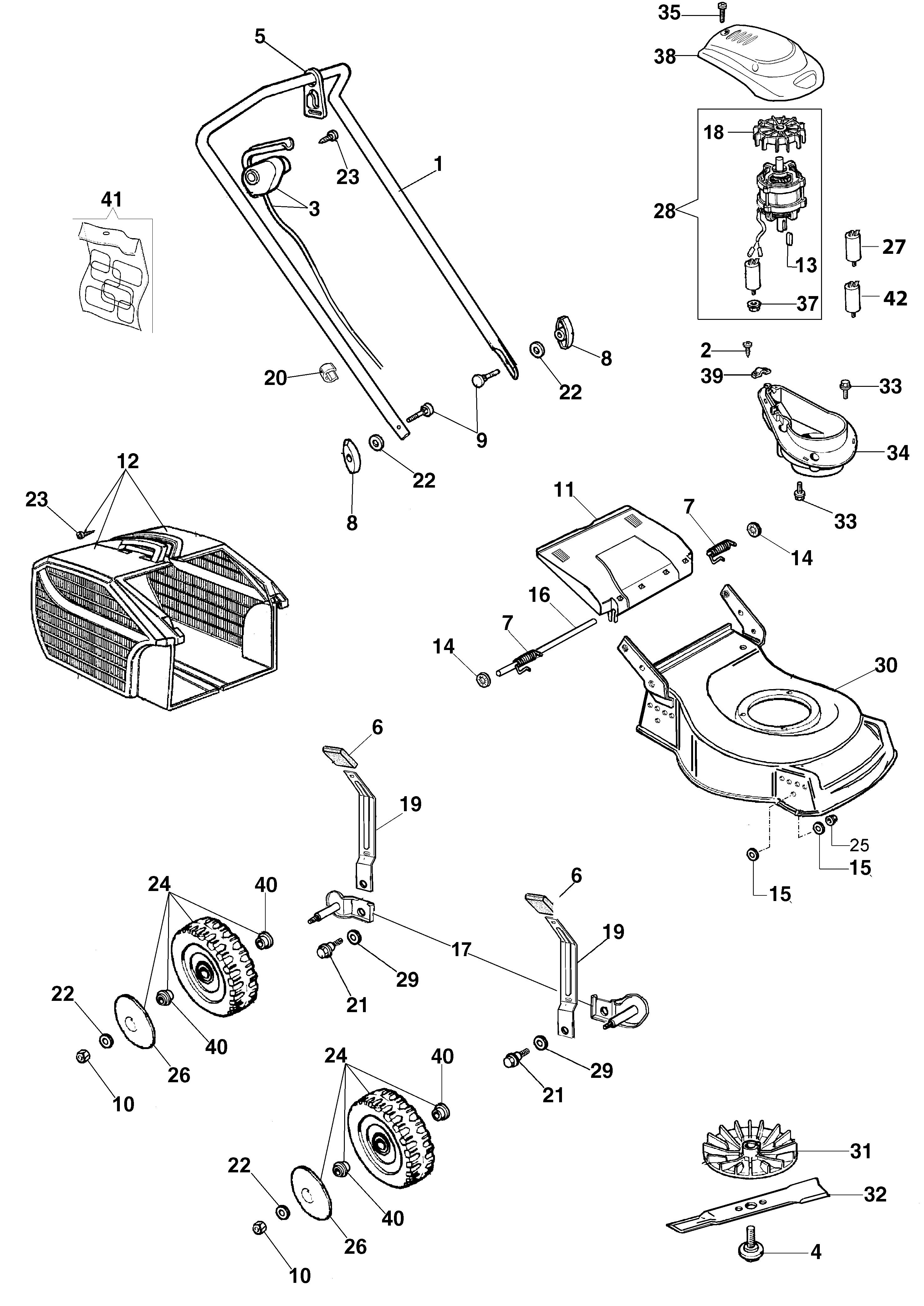G 44 PE Tondeuse électrique oleomac Dessins pièces -  Vue éclatée complète