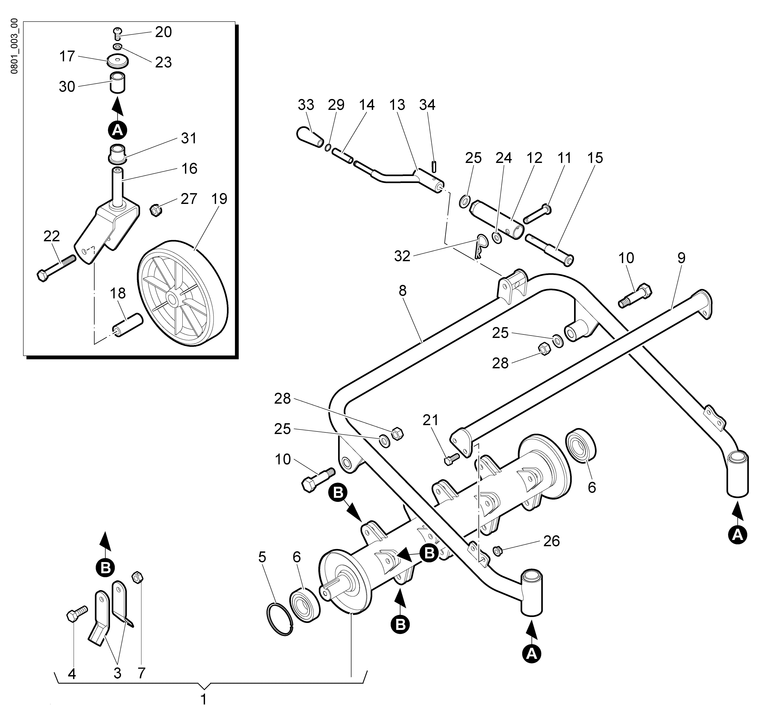 WB 55 H 6,5 Tondeuse à fléaux  Oleomac vue éclatée  Dessins pièces -  Groupe coupe (Rotor)