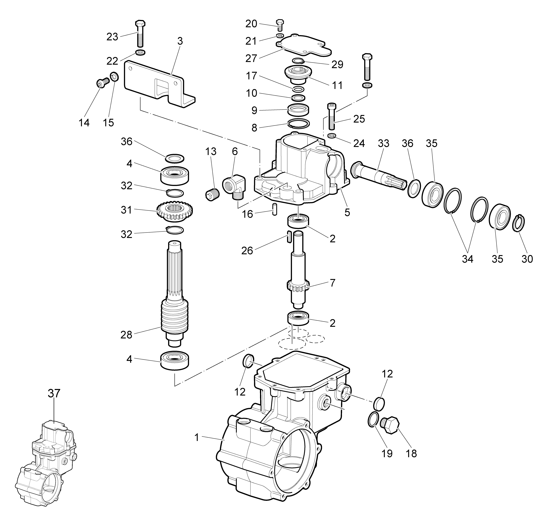 WB 55 H 6,5 Tondeuse à fléaux  Oleomac vue éclatée  Dessins pièces -  Engrenages de la boite a vitesse (1/2)