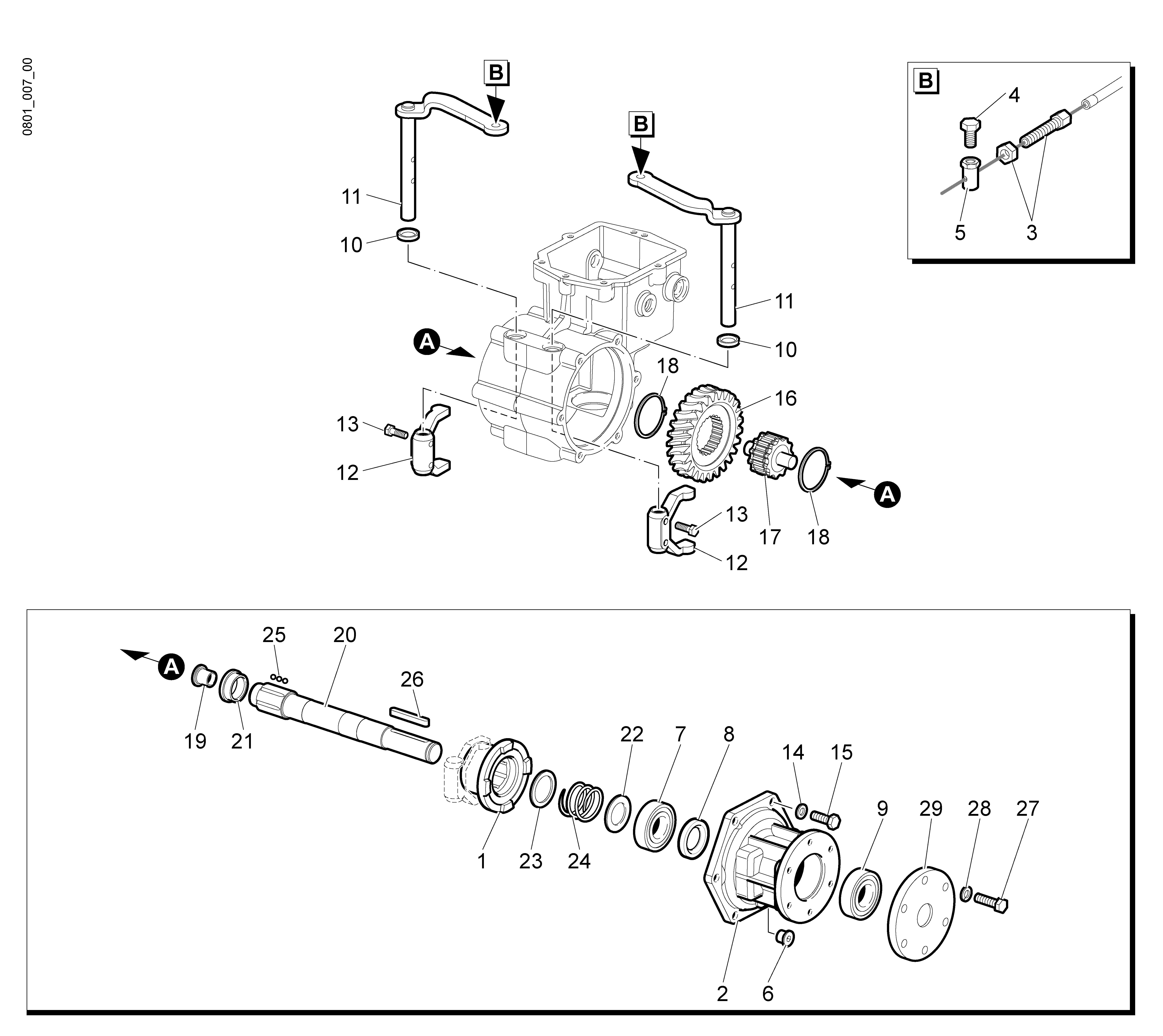 WB 55 H 6,5 Tondeuse à fléaux  Oleomac vue éclatée  Dessins pièces -  Engrenages de la boite a vitesse (2/2)