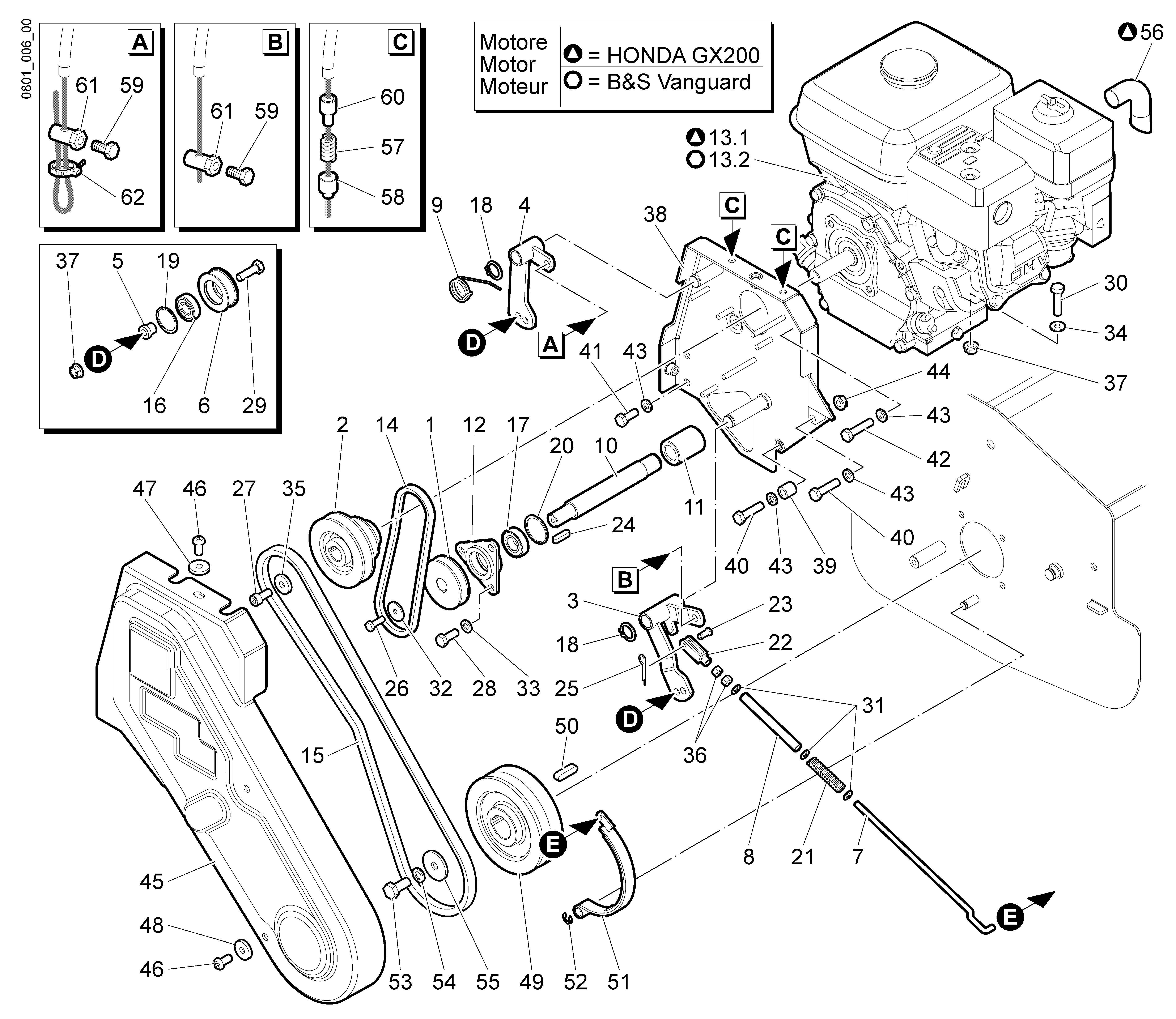 WB 55 H 6,5 Tondeuse à fléaux  Oleomac vue éclatée  Dessins pièces -  Transmission