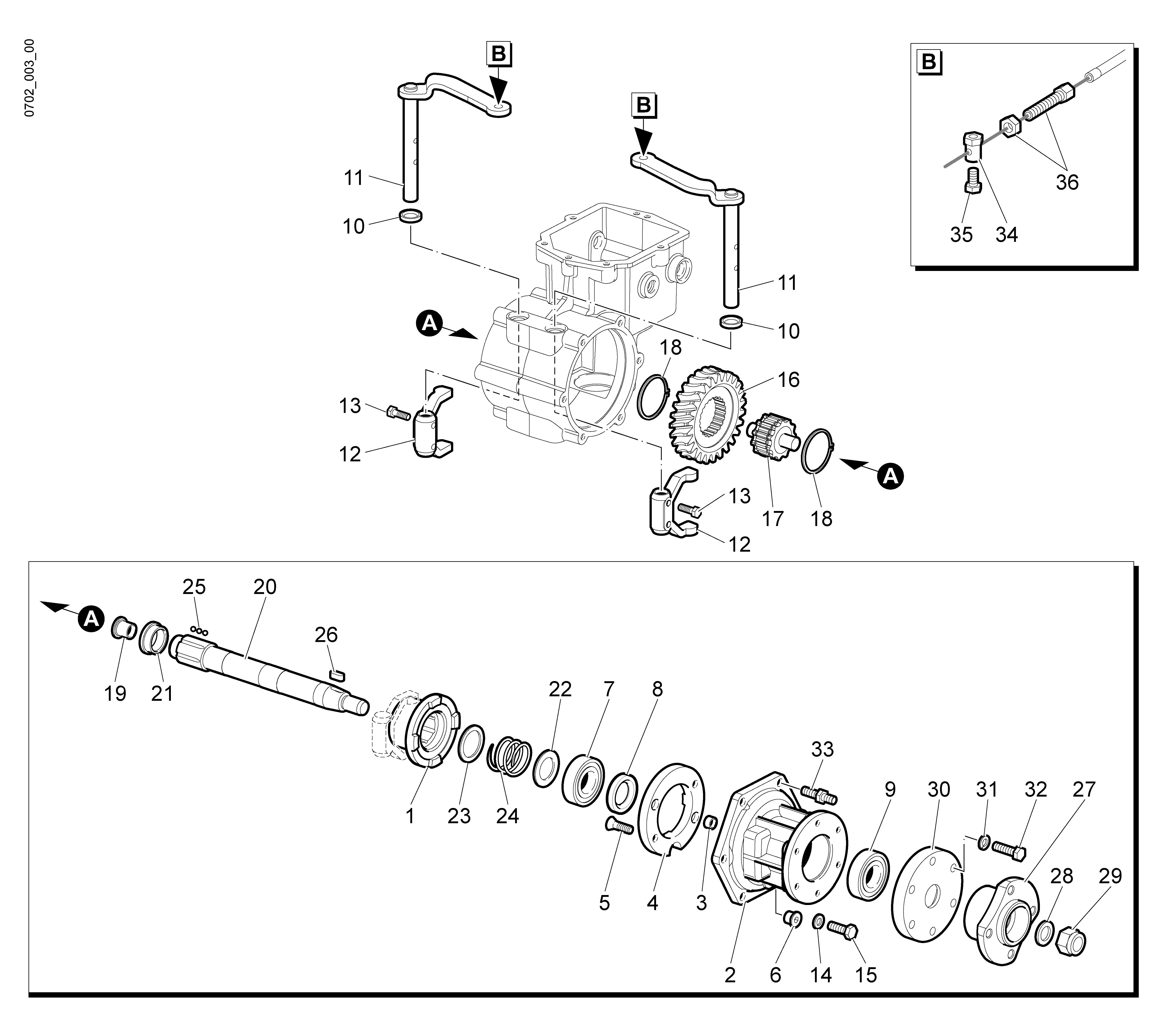 WB 65 HR 8,5 Tondeuse à fléaux  Oleomac vue éclatée Dessins pièces -  Engrenages de la boite a vitesse (2/2)