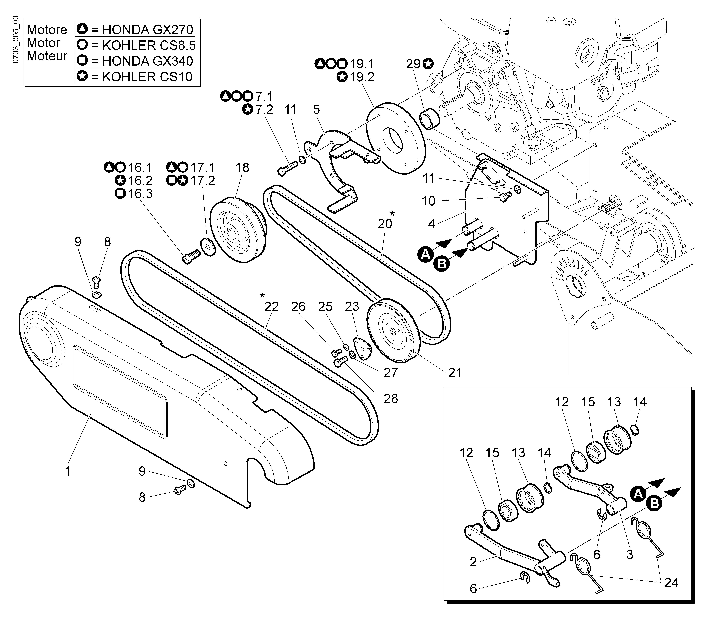 WB 80 KR 11 Tondeuse à fléaux  Oleomac Vue éclatée  Dessins pièces -  Transmission (1/2)