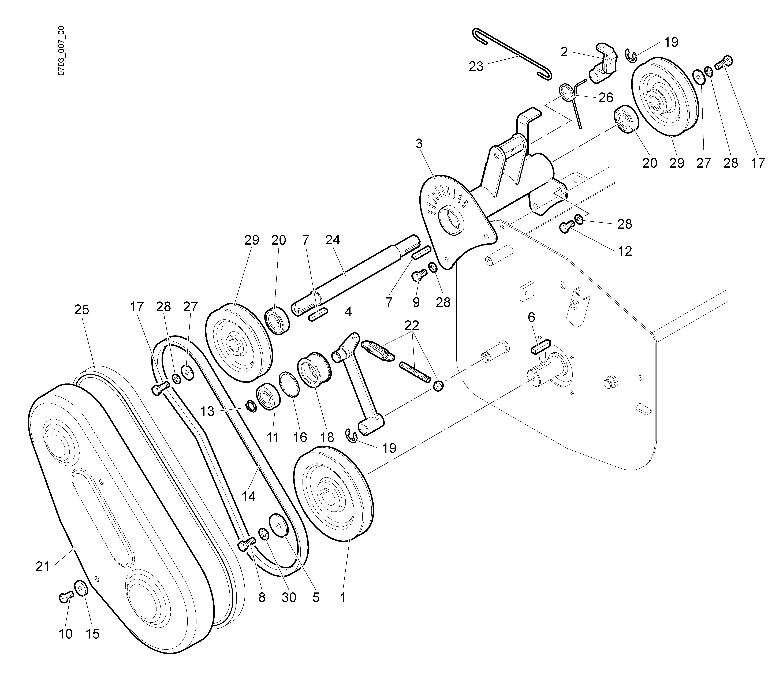 WB 65 HR 8,5 Tondeuse à fléaux  Oleomac vue éclatée Dessins pièces -  Transmission (2/2)