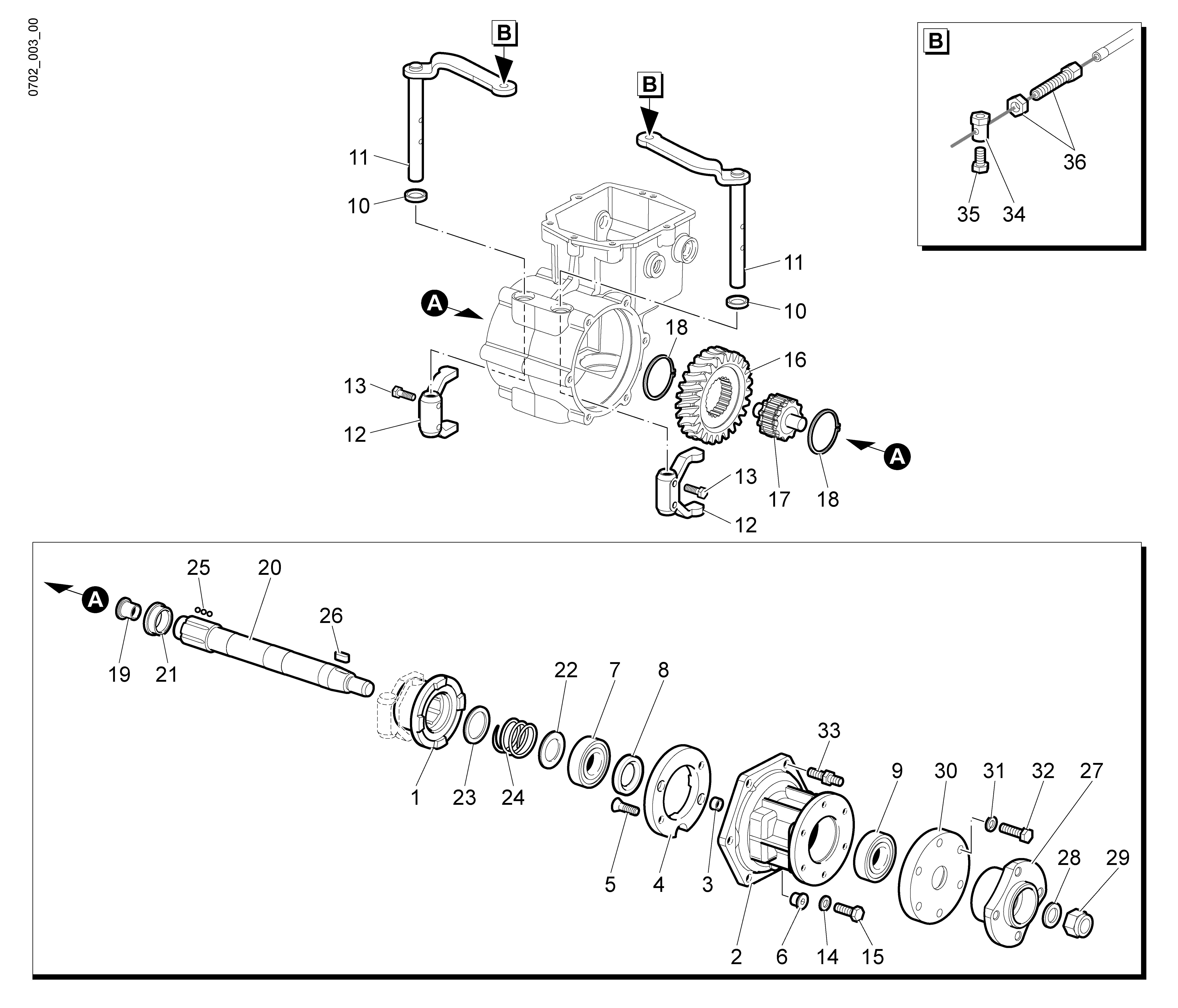 WB 80 KR 11 Tondeuse à fléaux  Oleomac Vue éclatée  Dessins pièces -  Engrenages de la boite a vitesse (2/2)